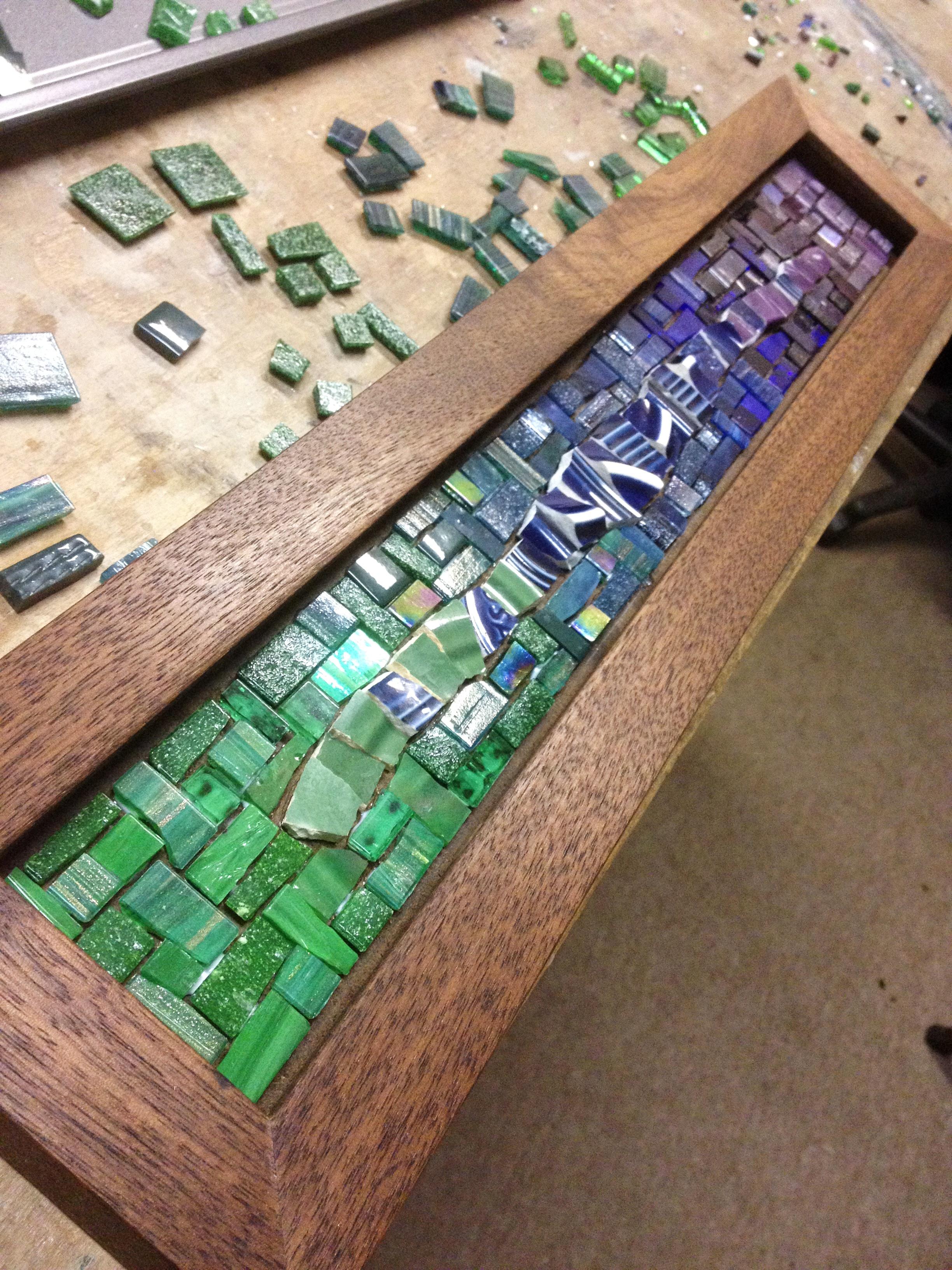 Cool colors mosaic coat rack in progress