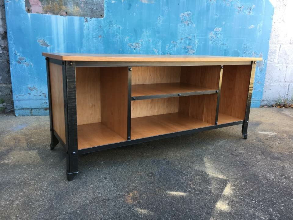 Forged steel and cherry media console tv unit with shelves.