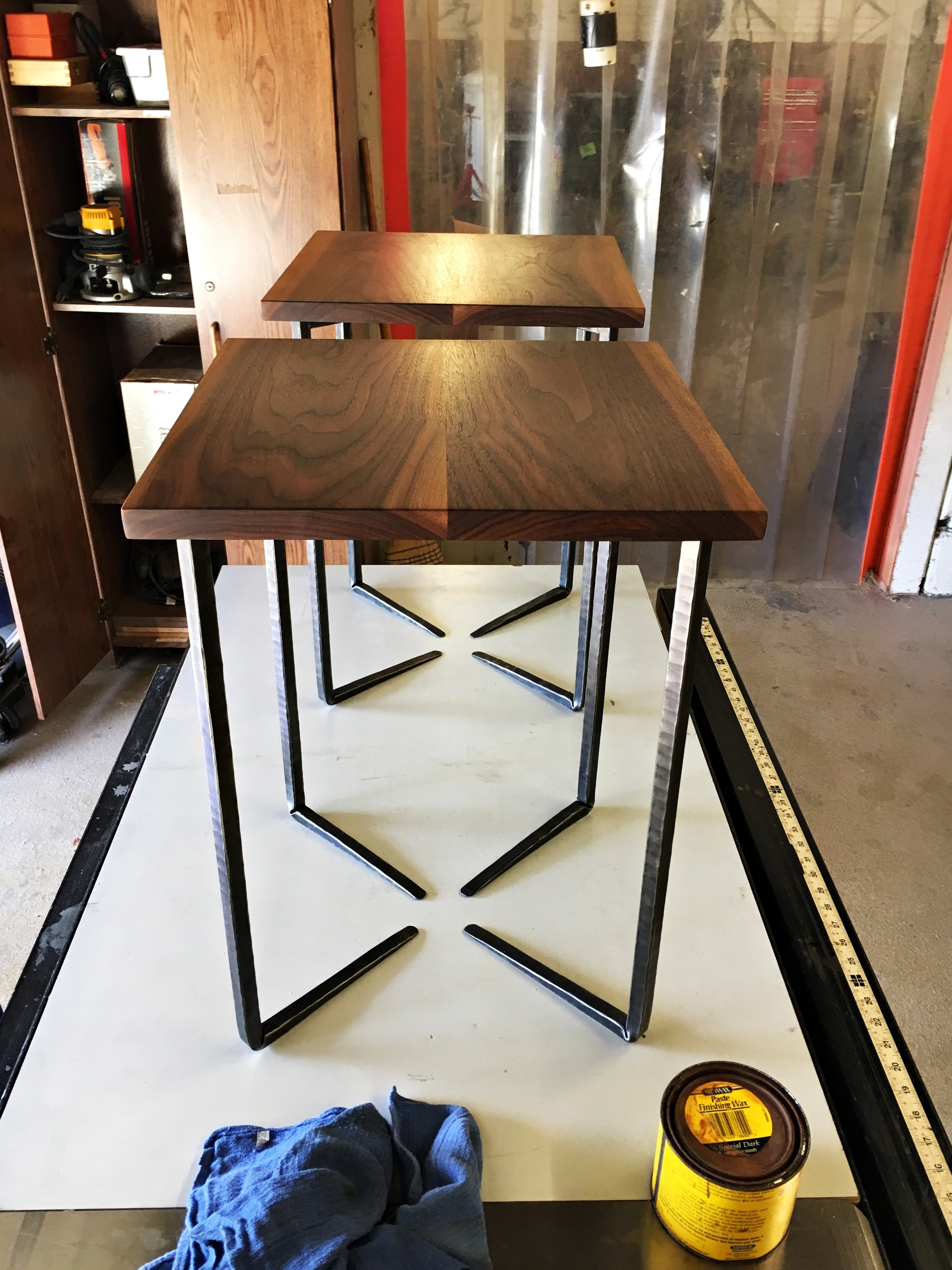 Walnut end table forged base PH2016