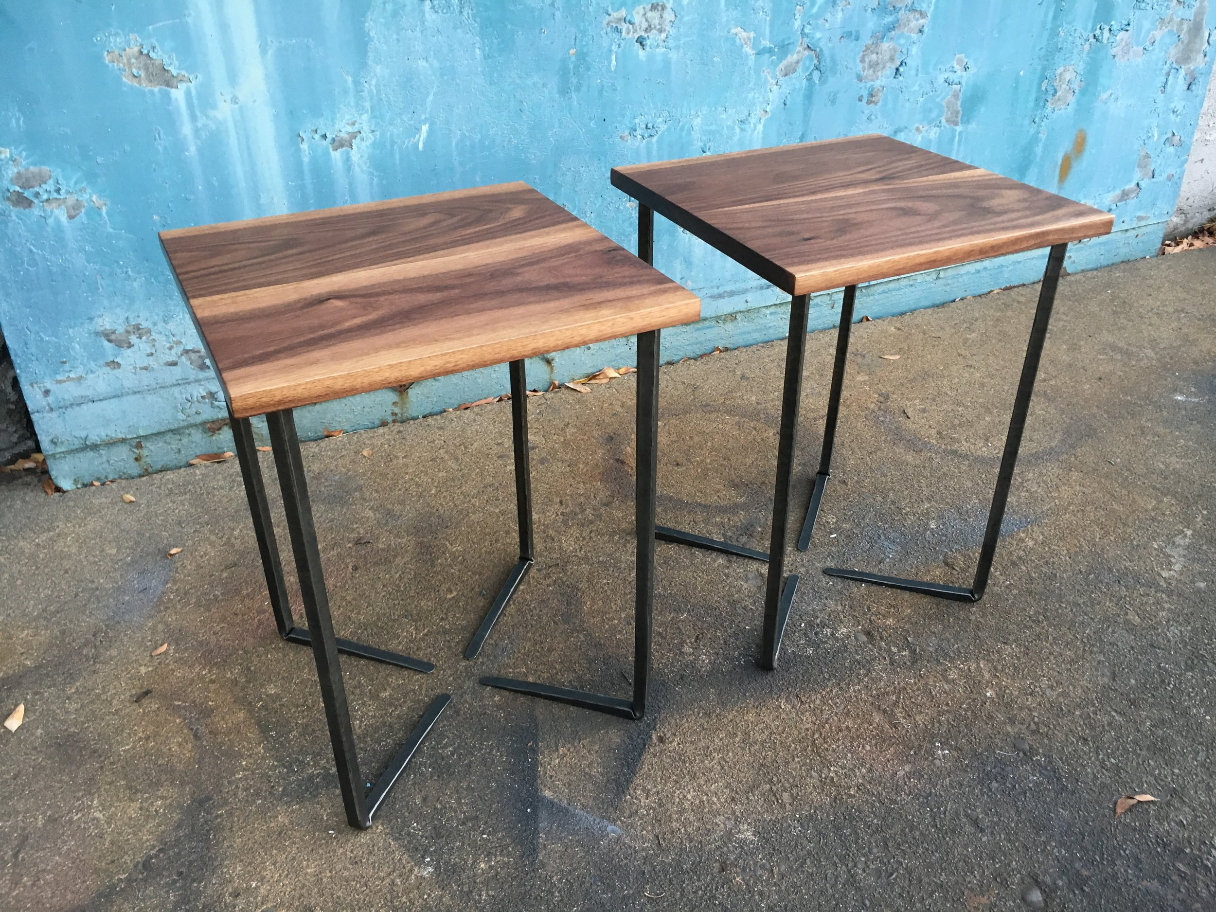 Walnut End Tables with Forged Steel Bases
