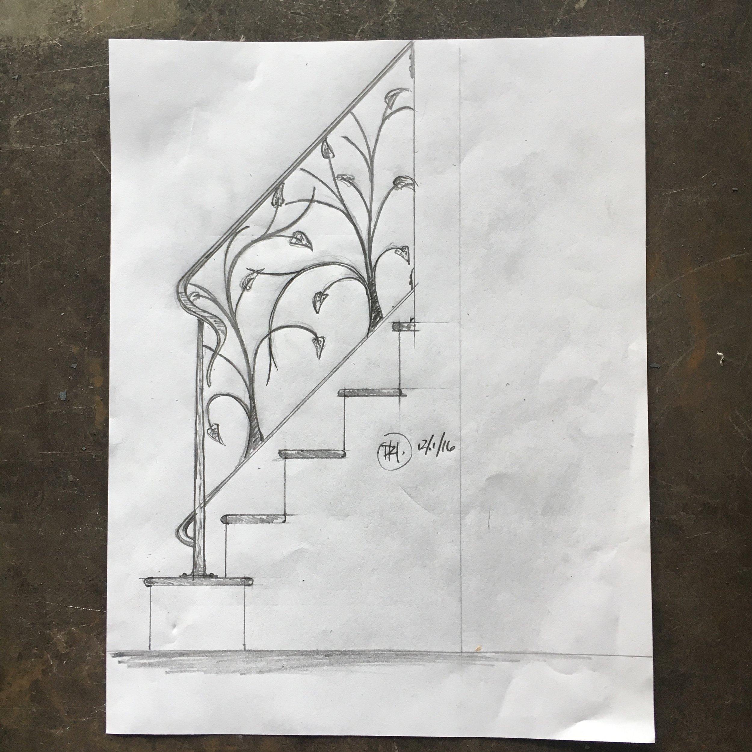 Leaf railing sketch PH2017