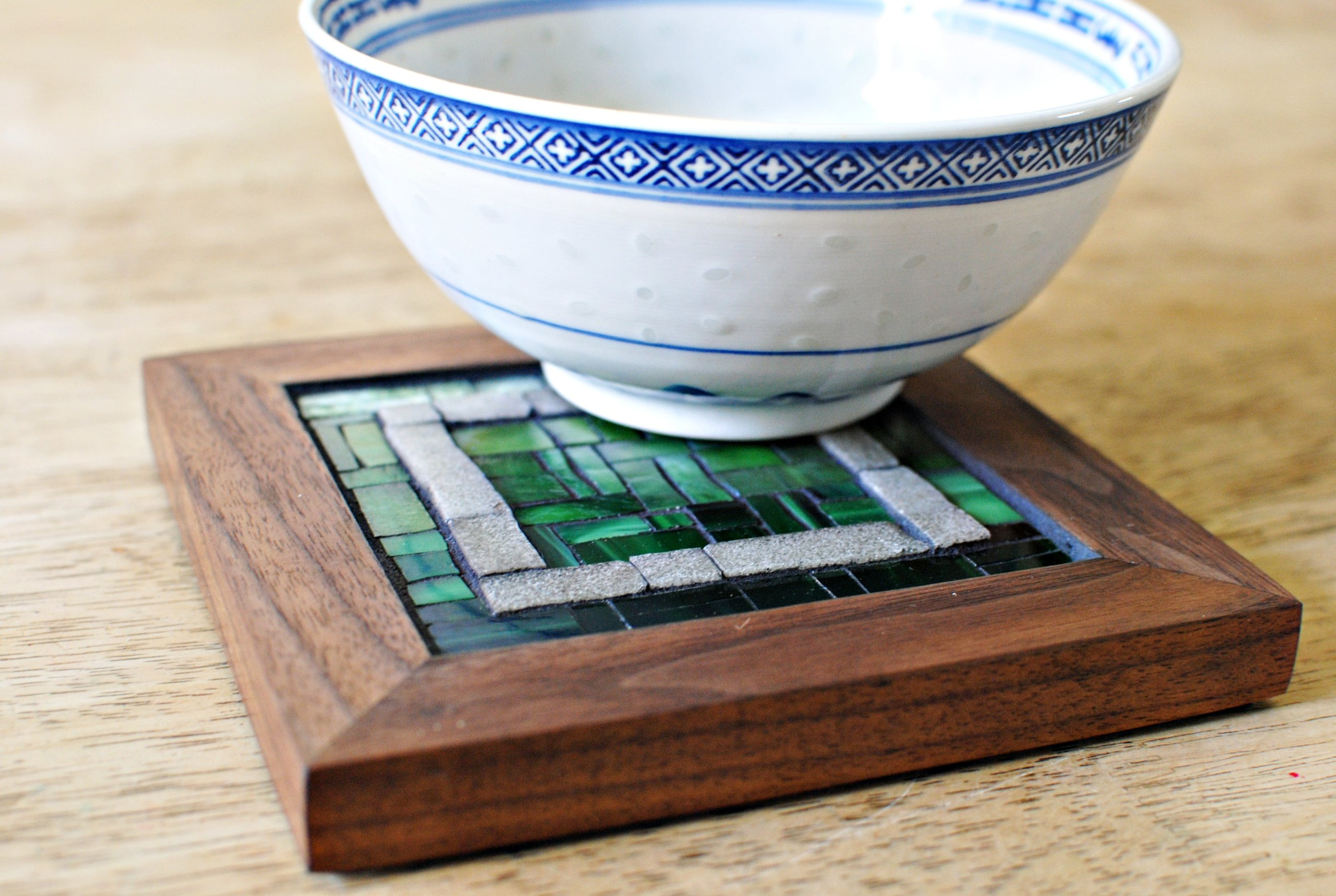 Forest mosaic trivet with bowl