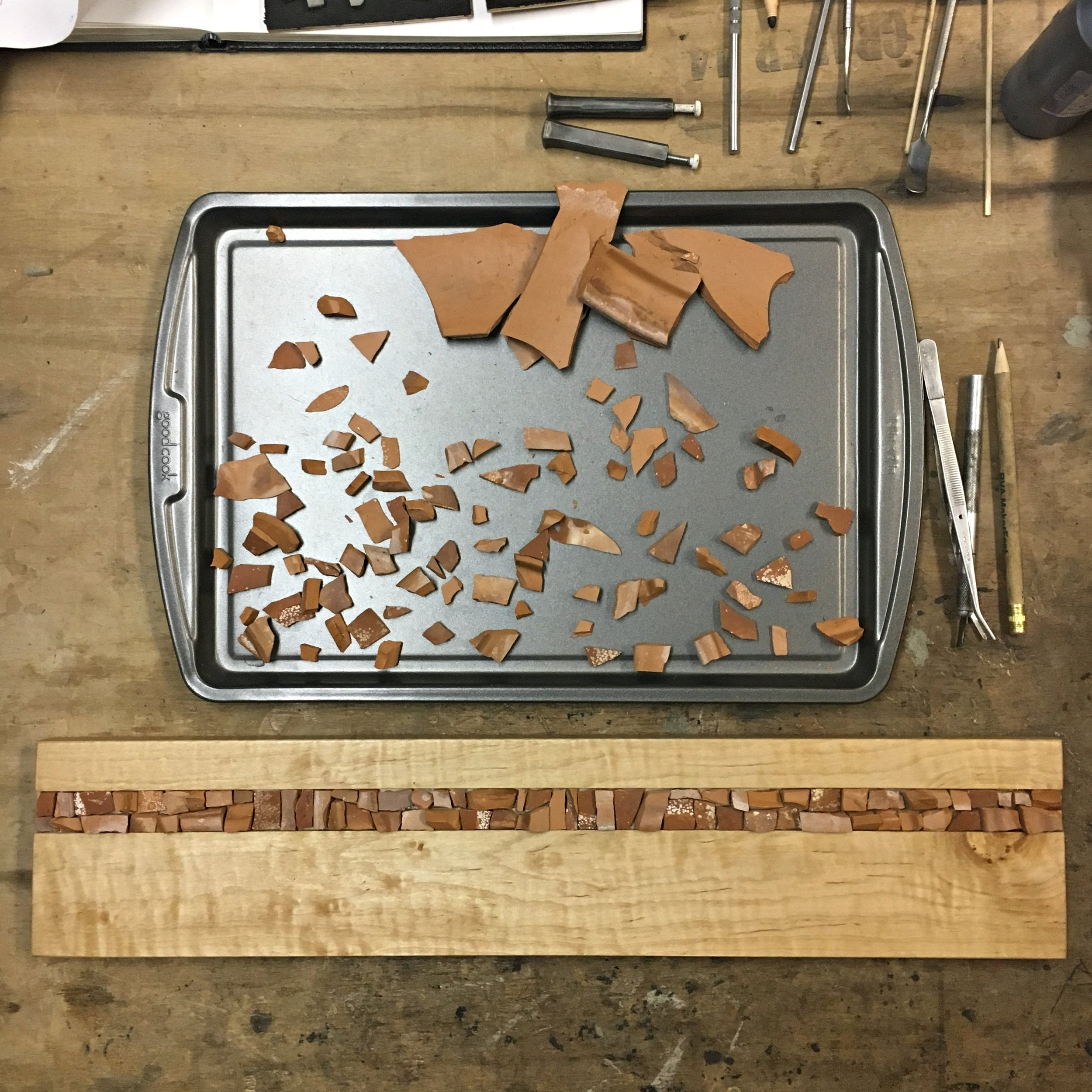 Curly maple with terracotta mosaic