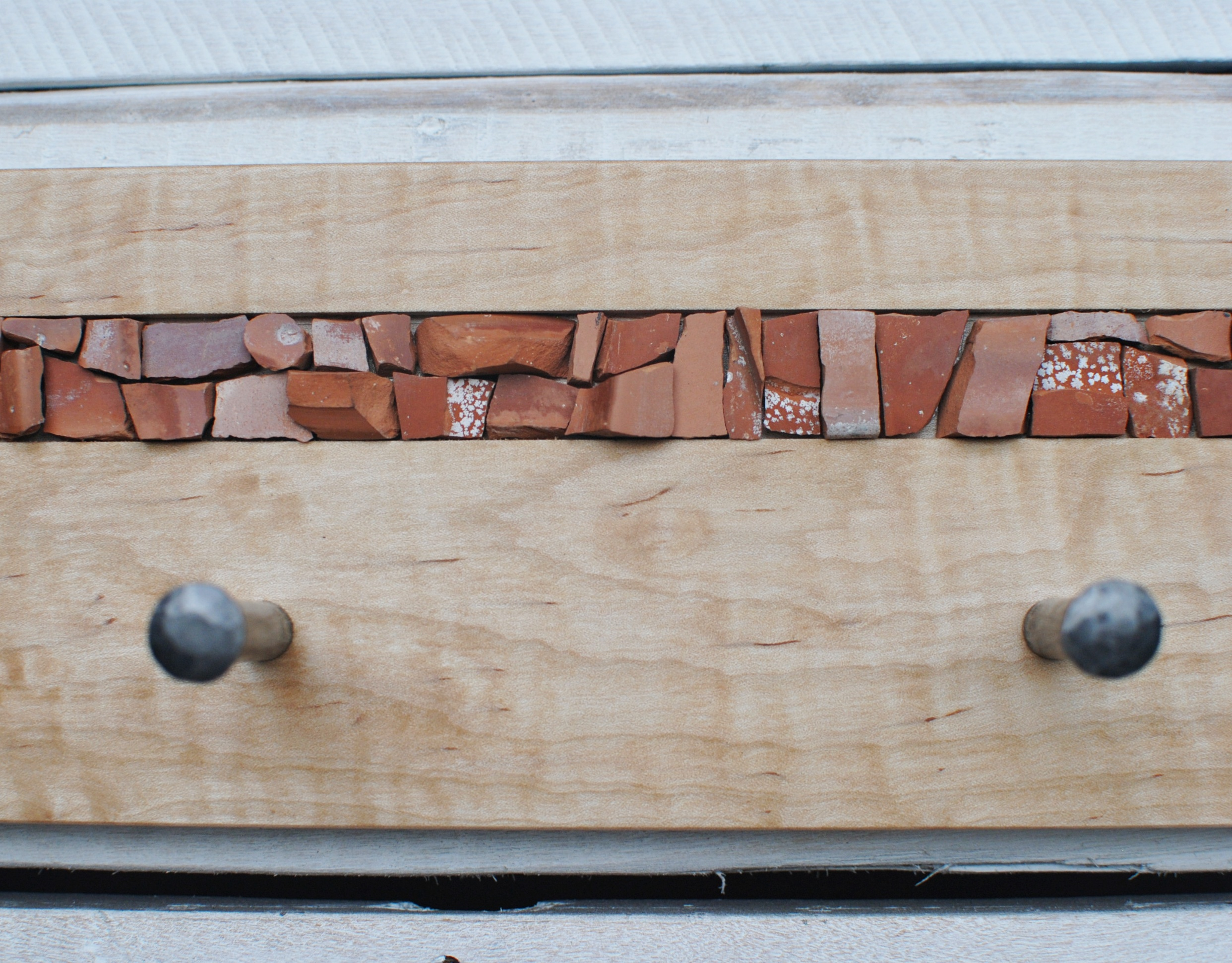 Curly maple, terracotta mosaic, & handforged coat pegs