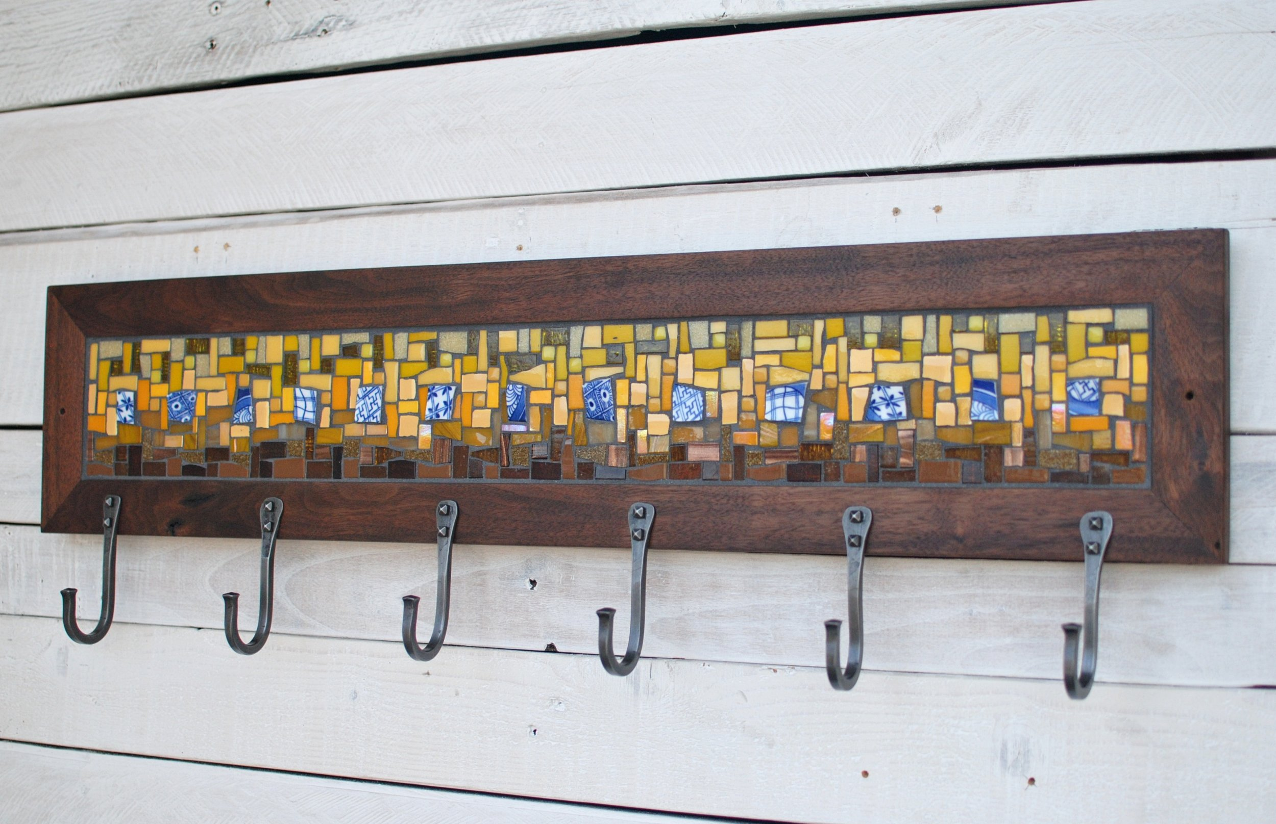 Yellow and blue mosaic coat rack
