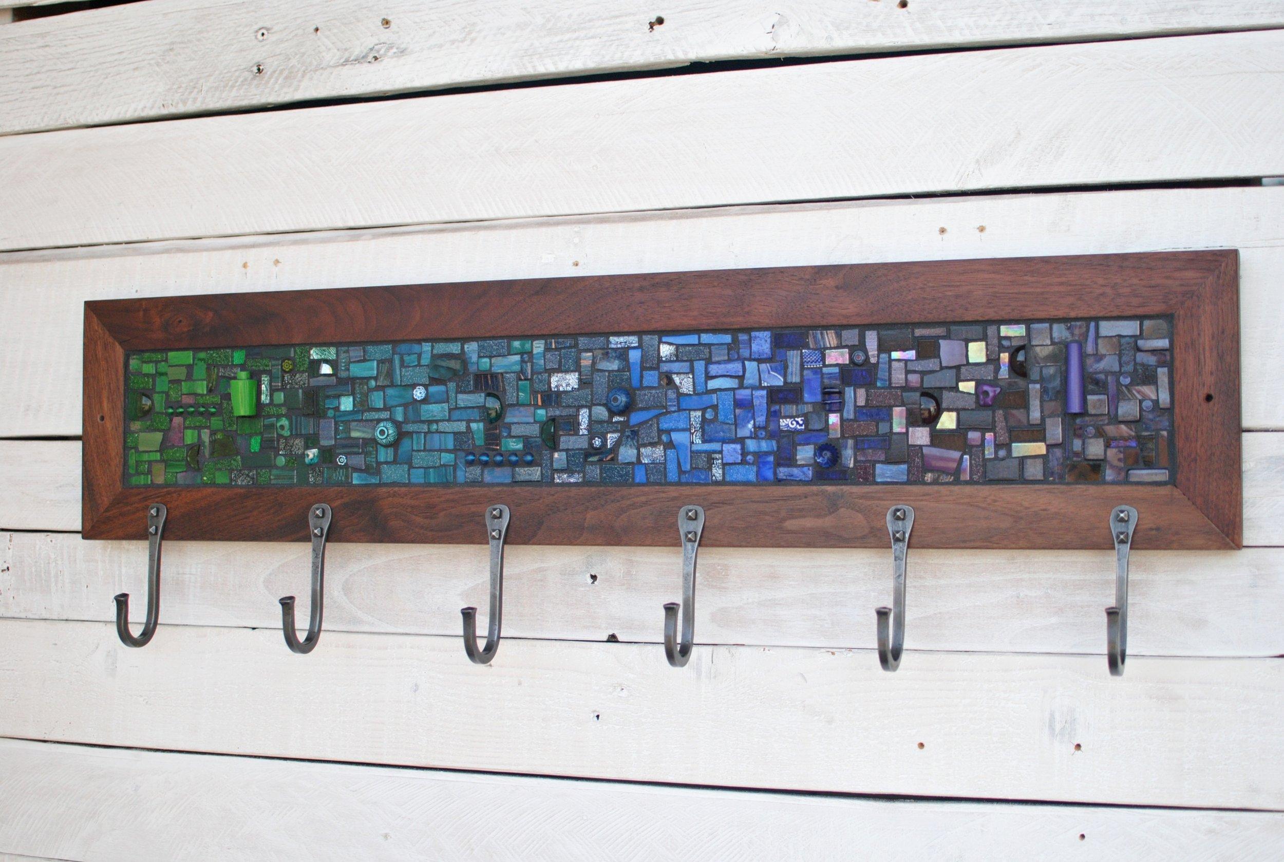 Green and blue mosaic coat rack