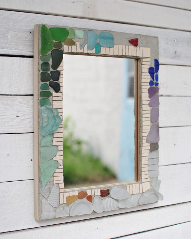 Sea glass memory mirror