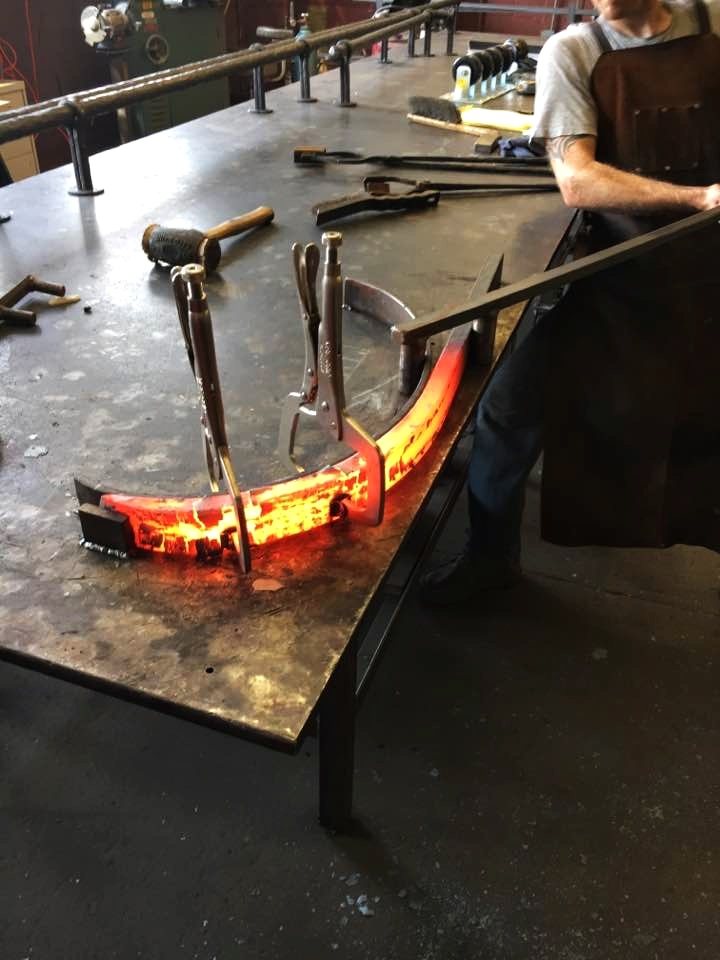 Forging dining table legs by hand