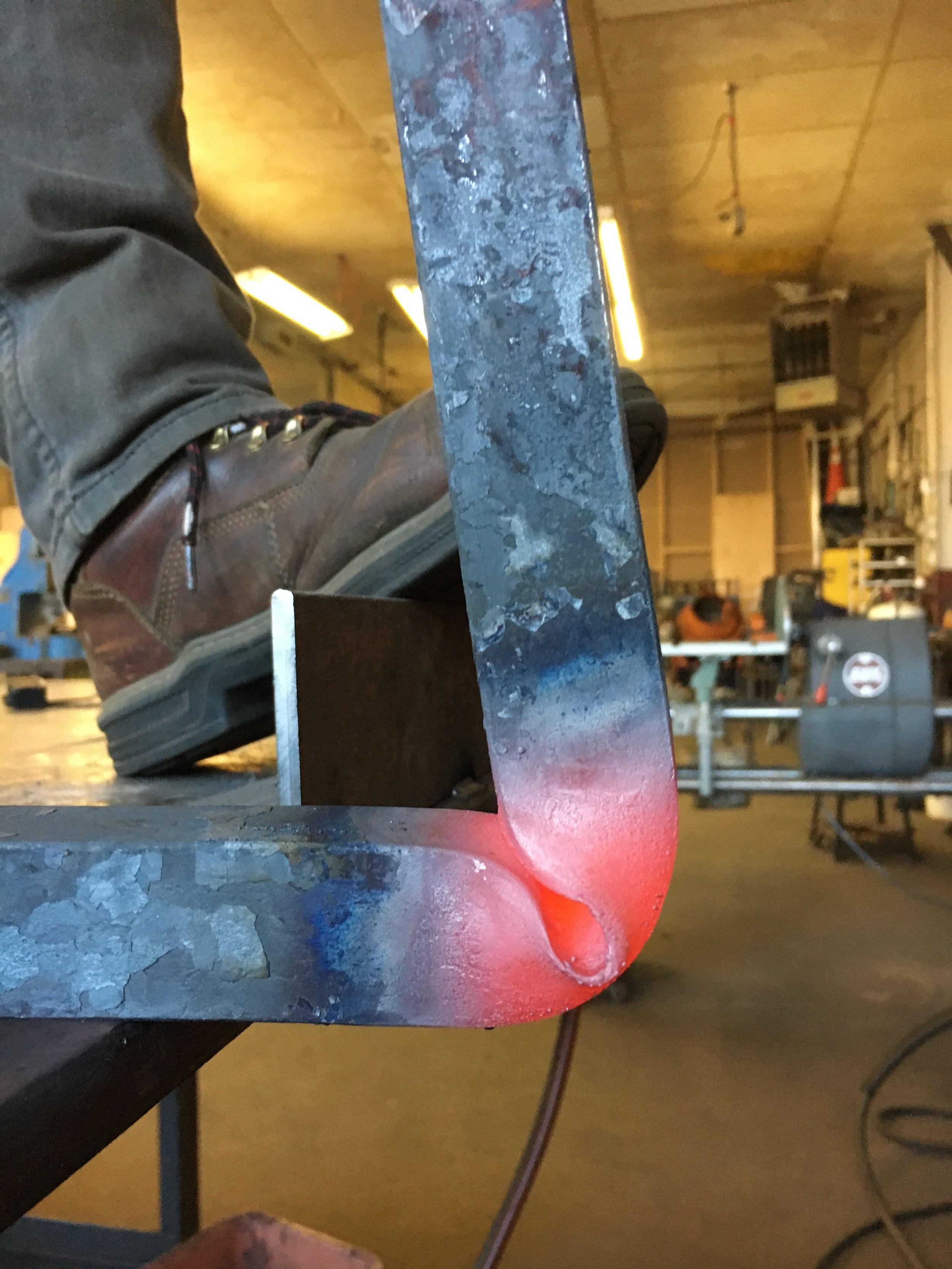 Forging a large table leg
