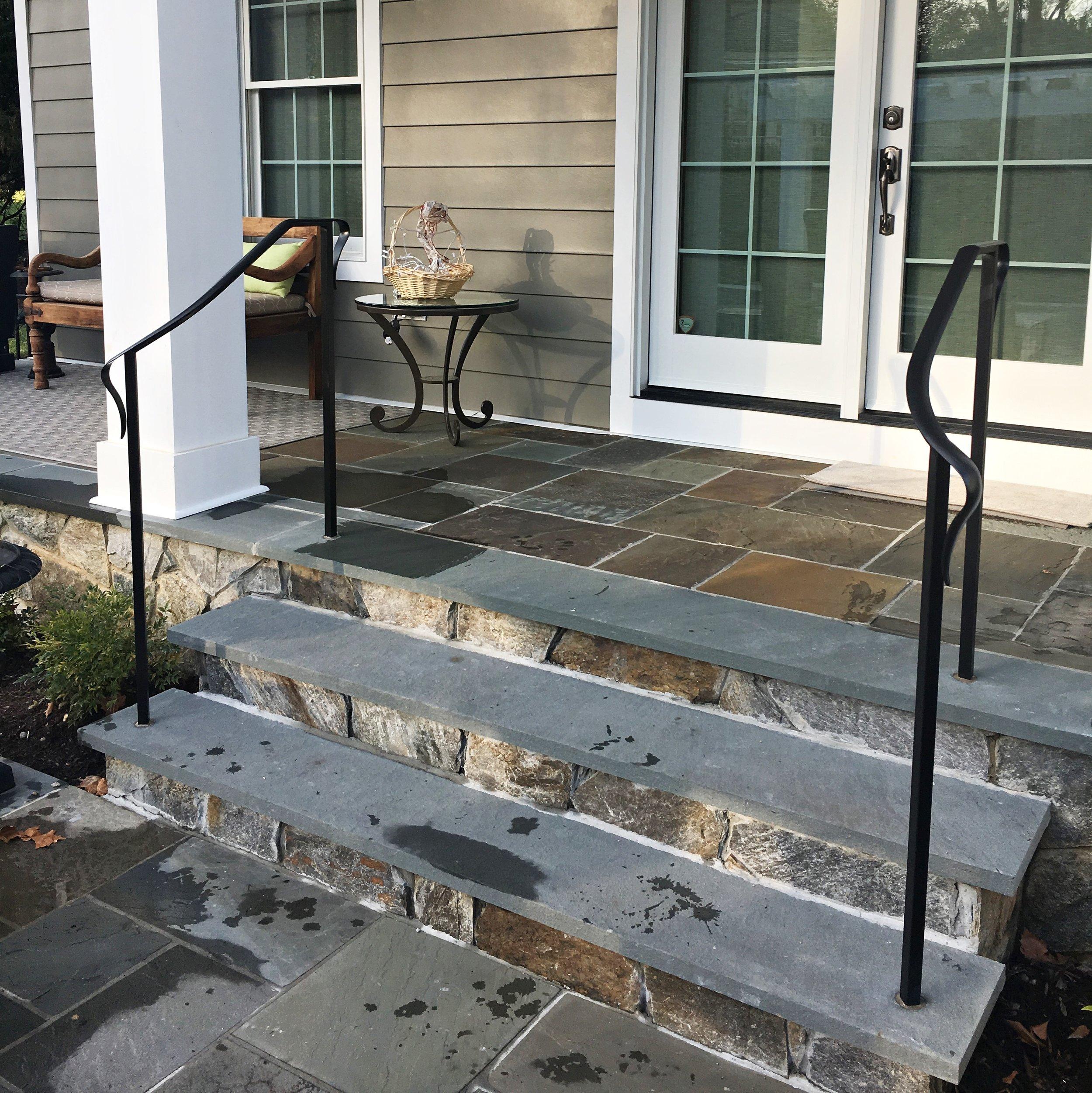 Exterior stair hand rail