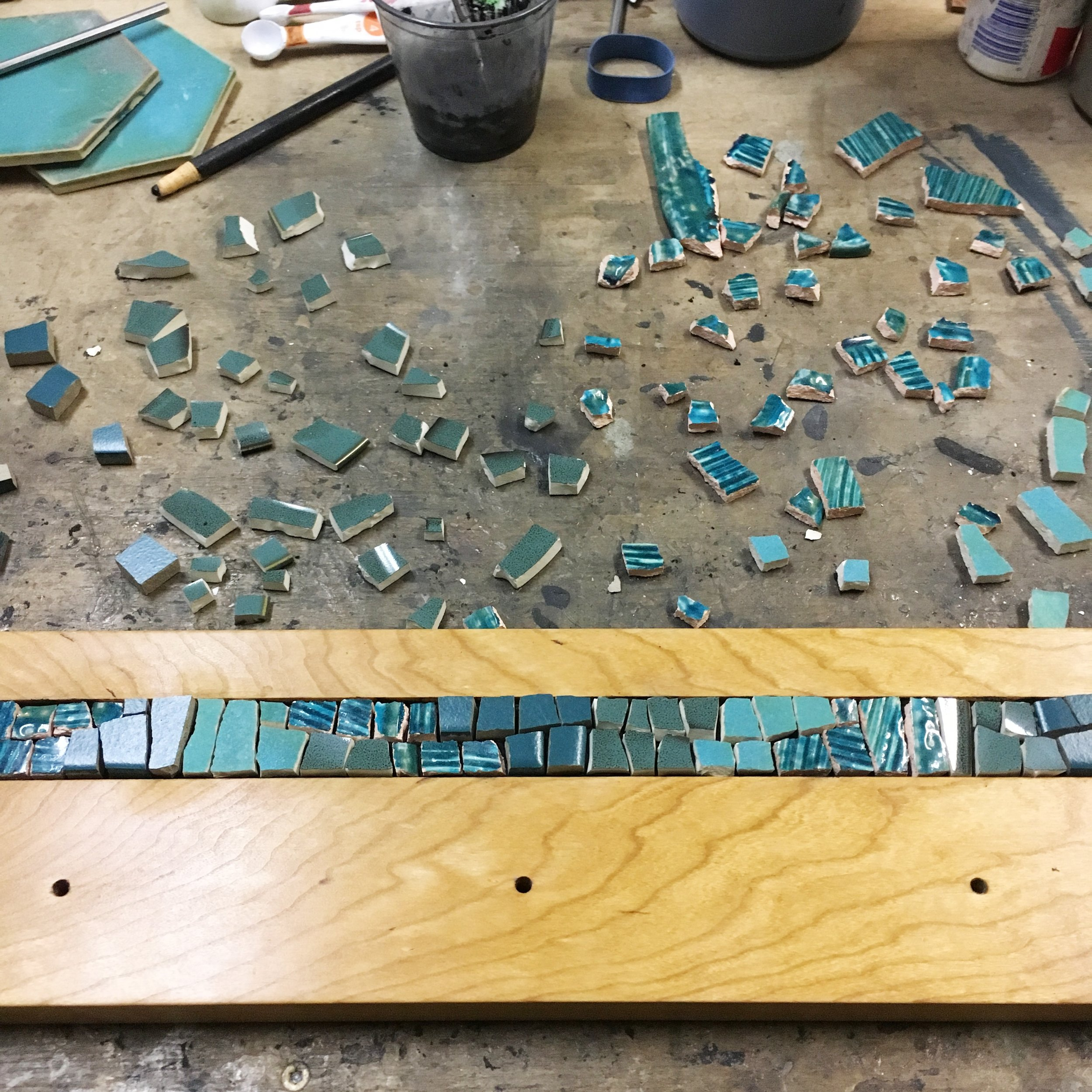 Teal mosaic in process