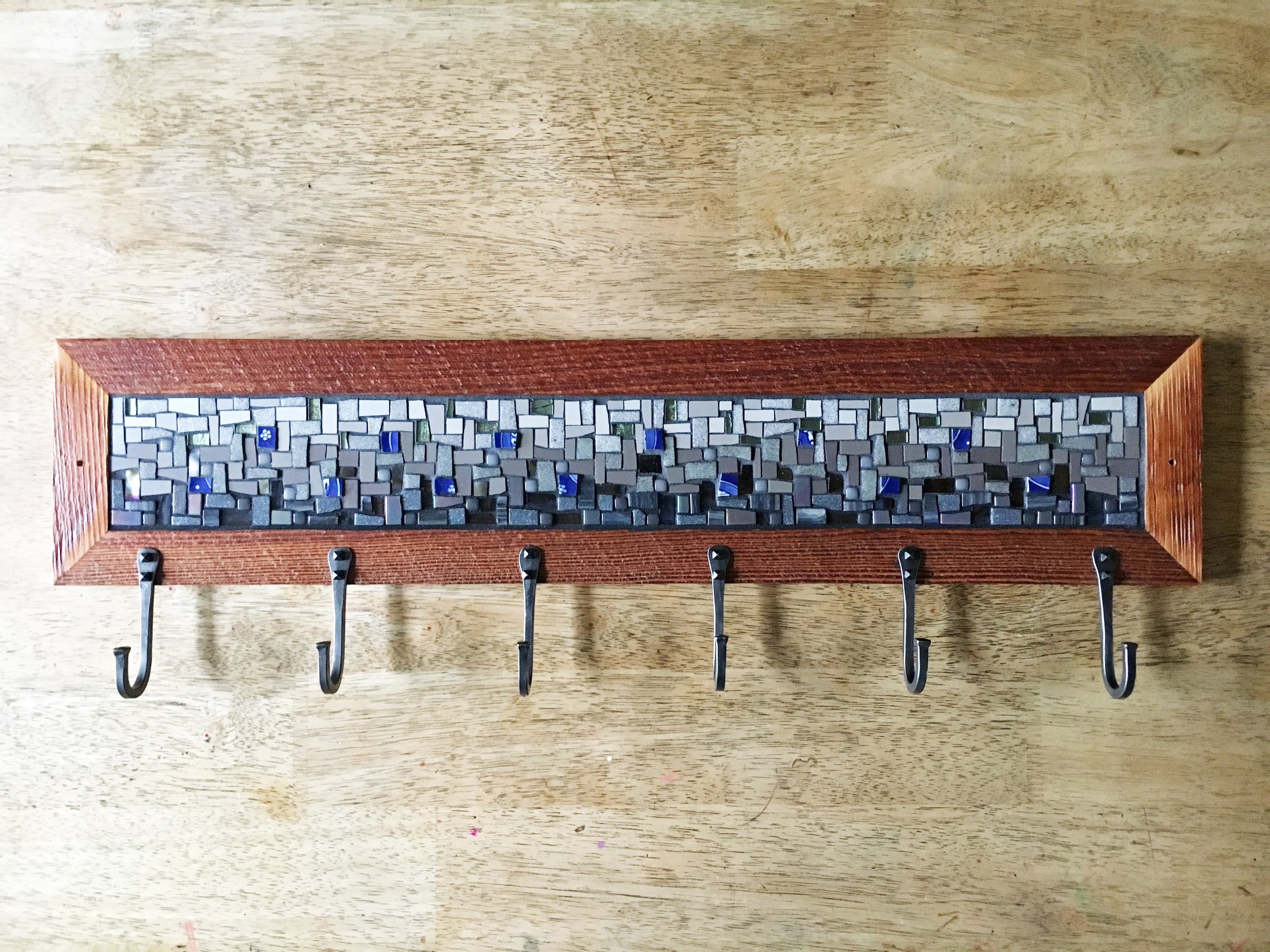 Grey blue mosaic coat rack