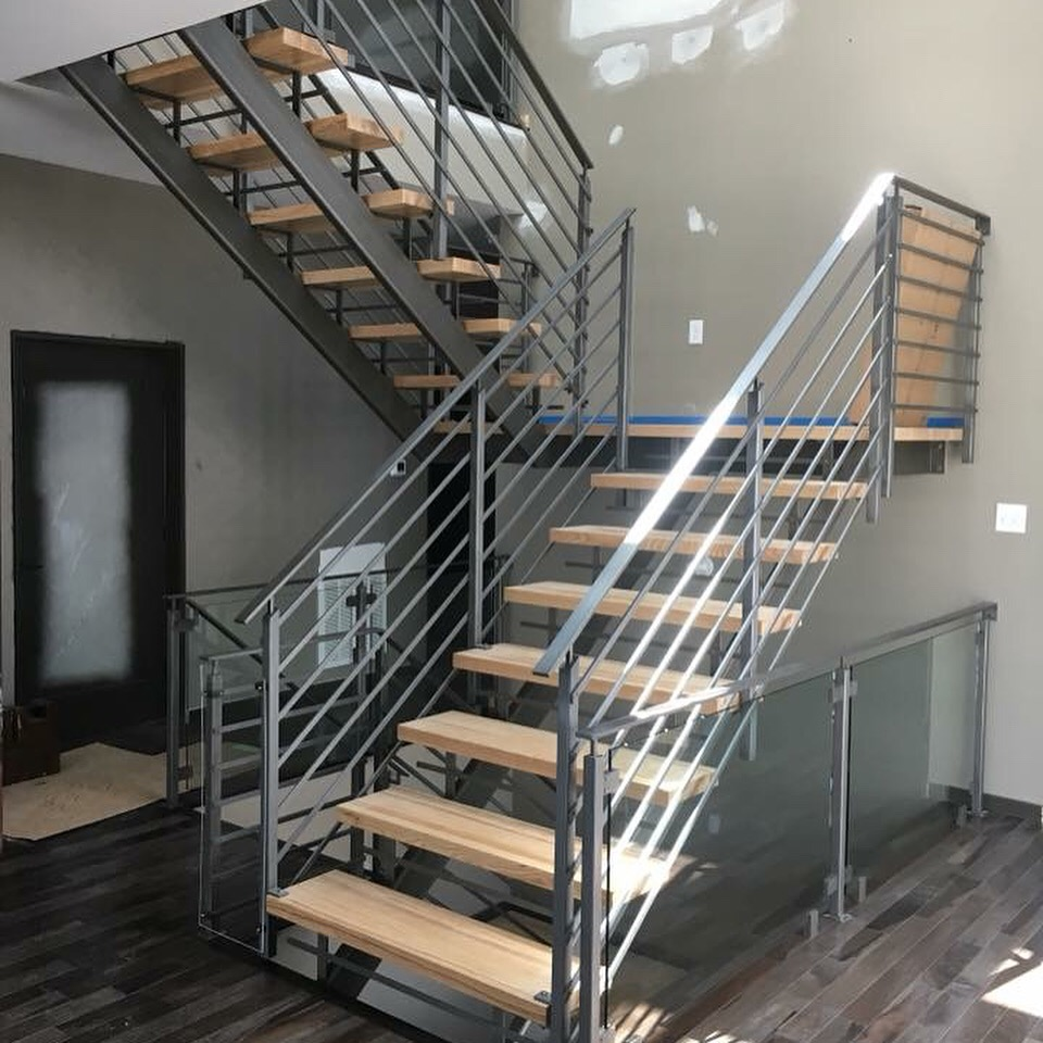 Stair railing installed