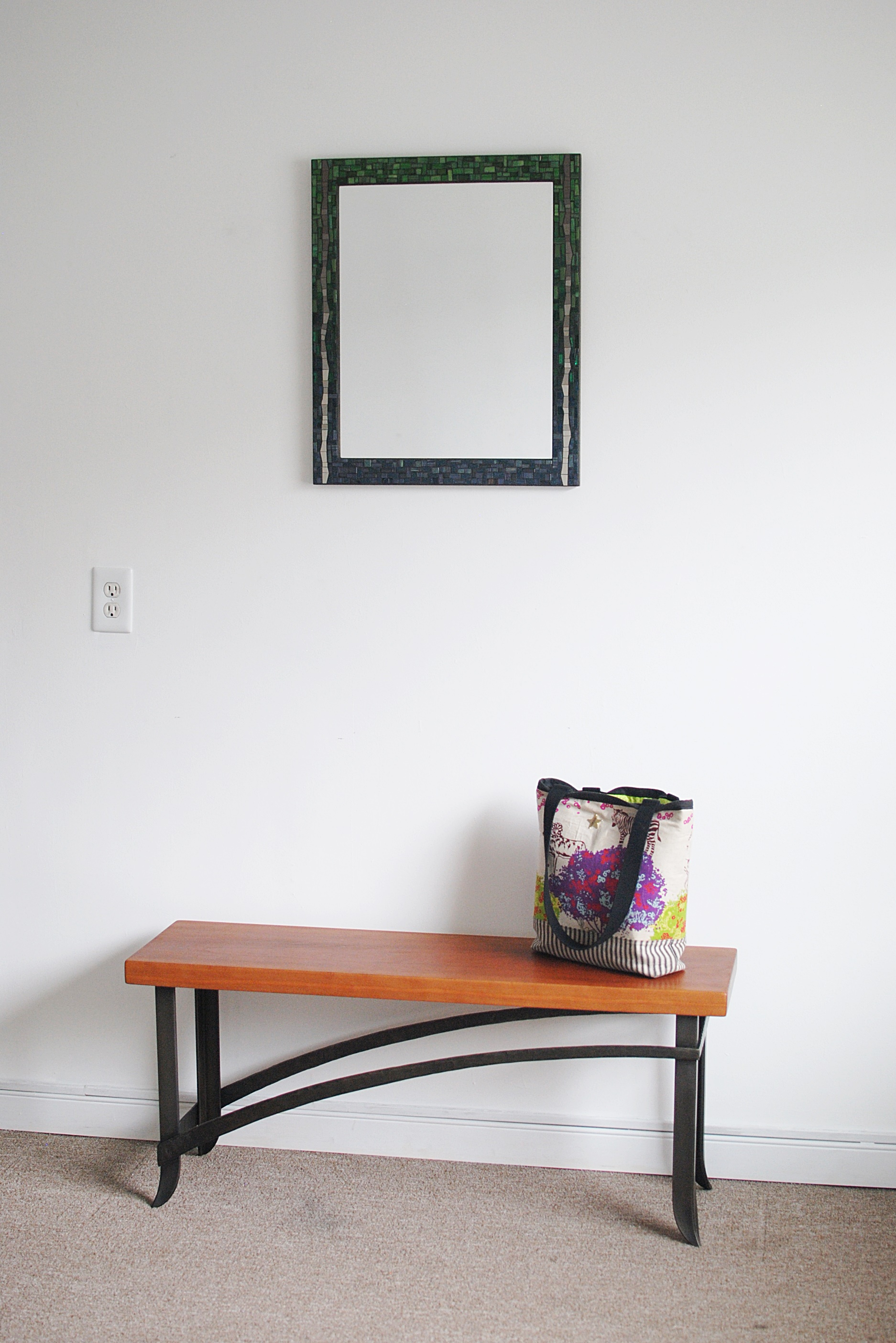 Forged bench with mosaic mirror