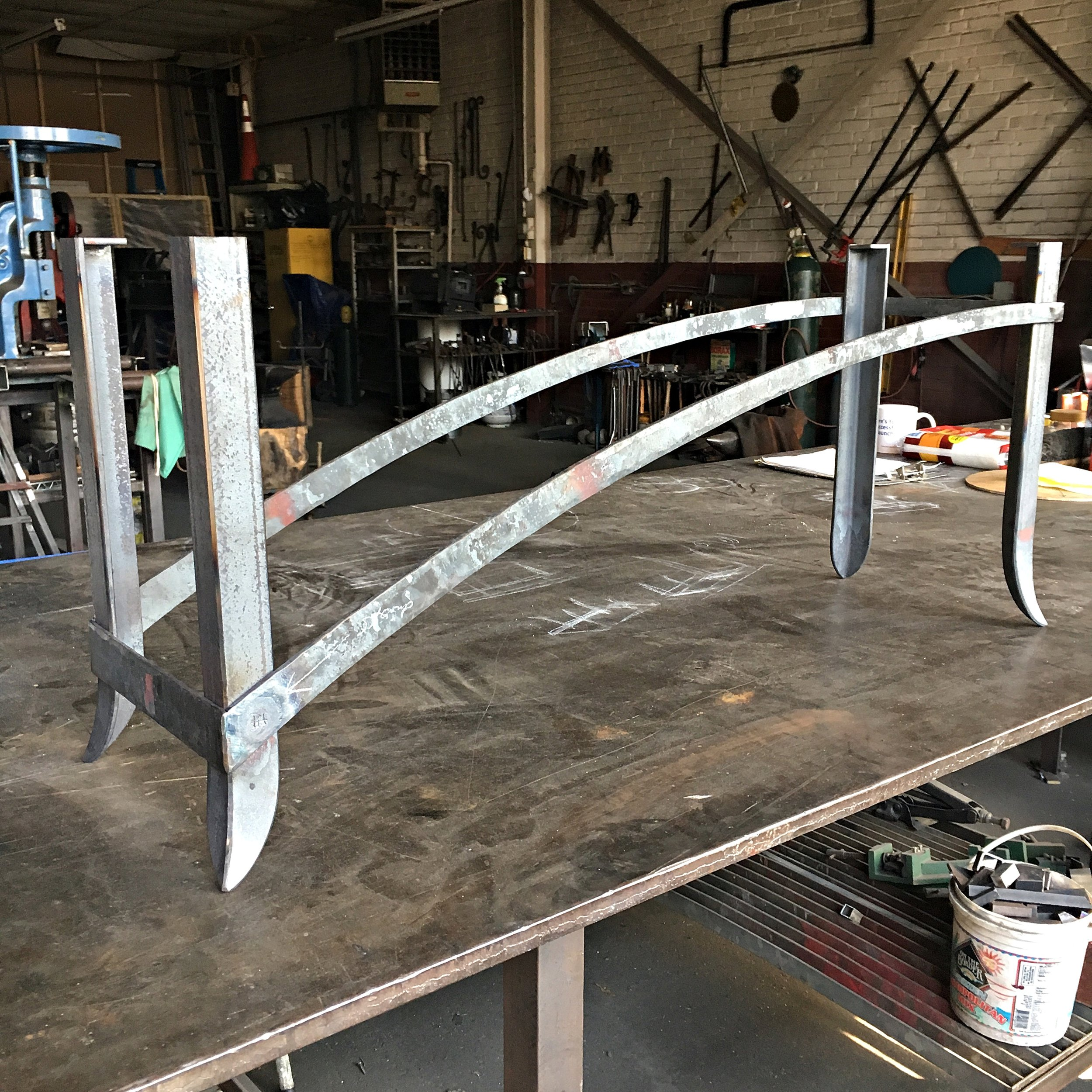 Forged bench in process