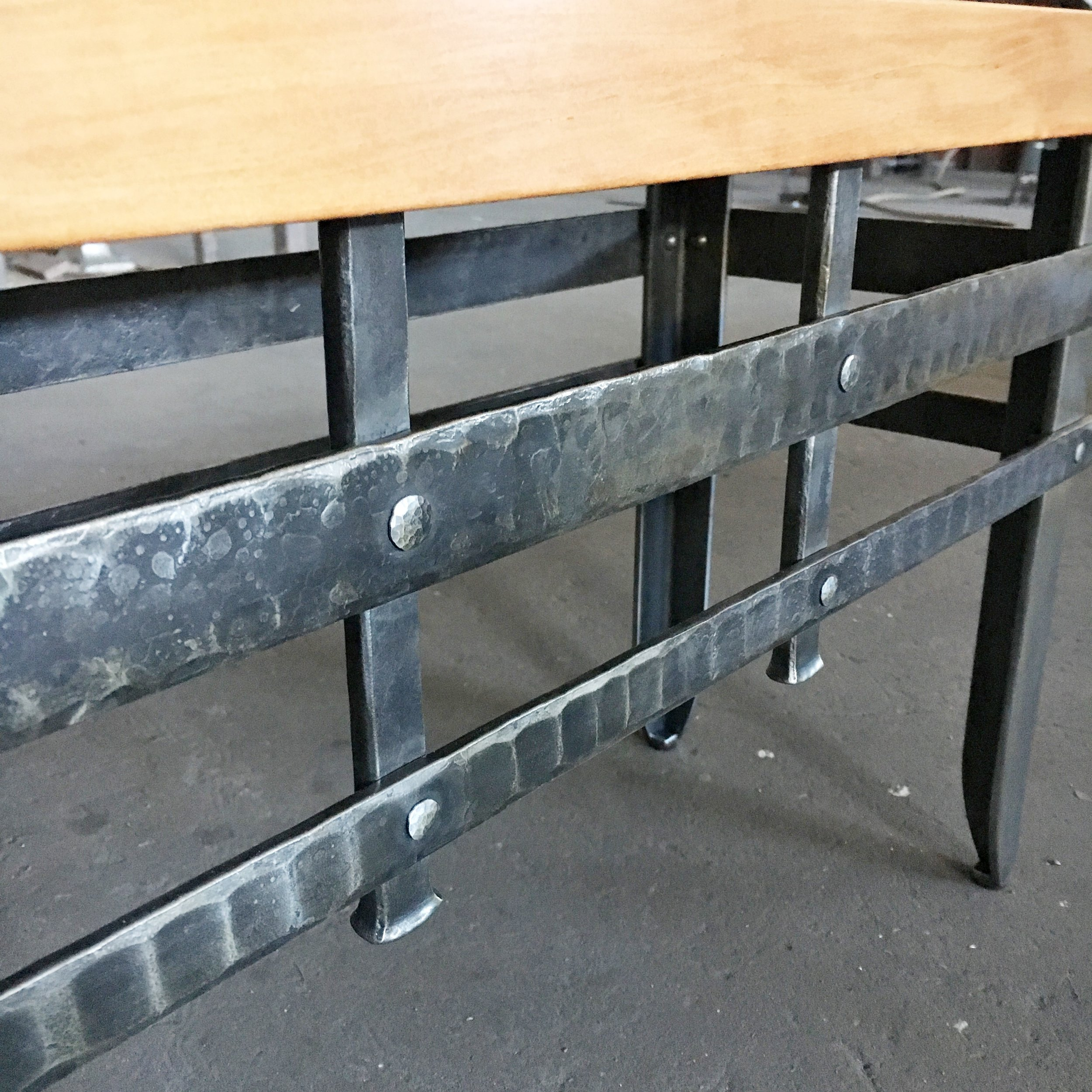Forged steel bench base detail
