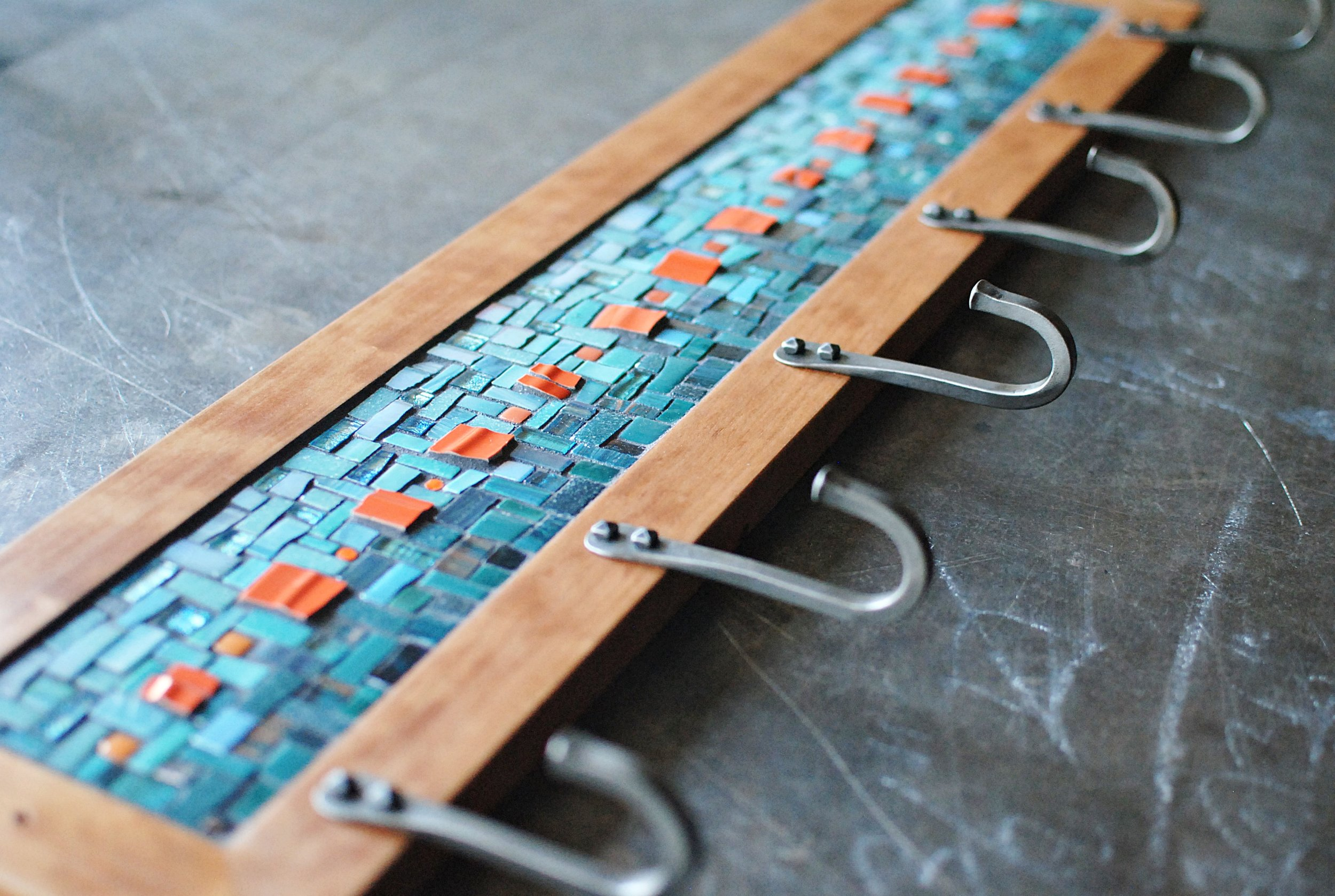 Custom blue and orange mosaic coat rack