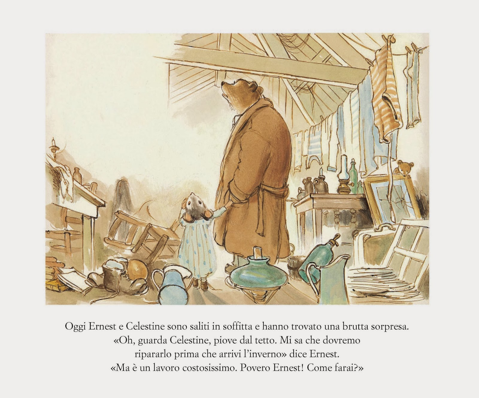 Drawing by Gabrielle Vincent from her children's book series  Ernest et Celestine .