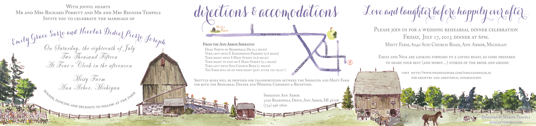 The invitation is a tri-fold panoramic view of the farm where they were married.