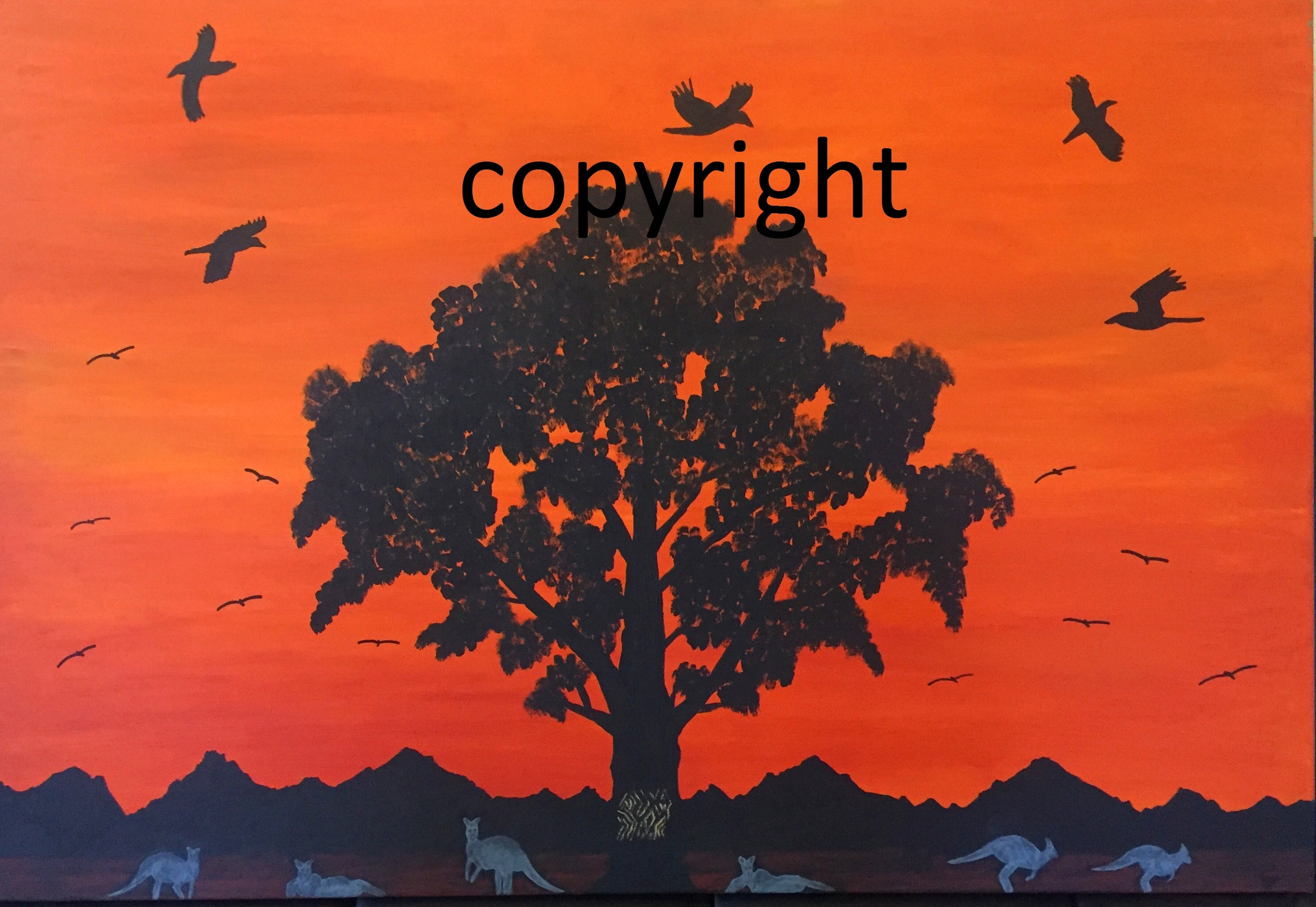 "Title: ""Sunset over Country""    Medium:   Synthetic polymer paint on linen    Size: 110 X 76    Price: $1800.00"