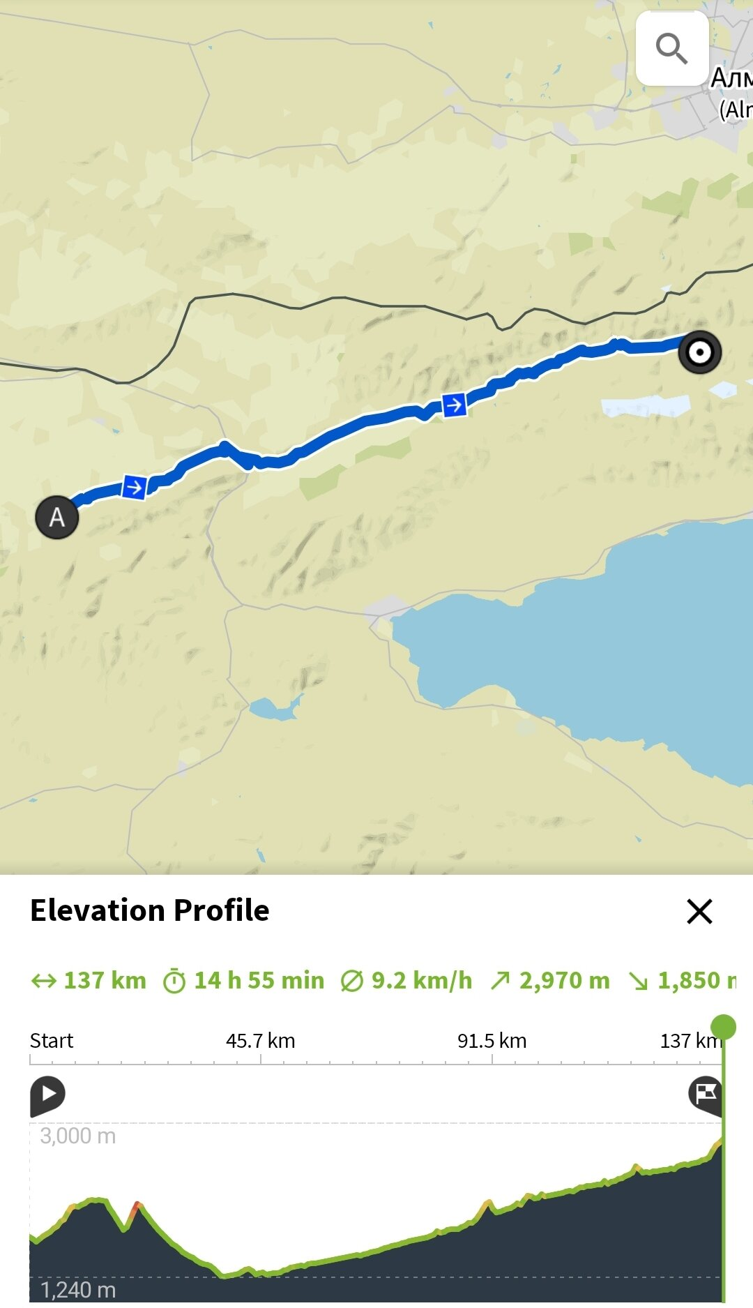 Day 14 // Peanut Butter Hills to the Foot of Kok-Airyk - Time: 14h 55min from 4:00 - 20:30Distance: 137kmVertical meters: 2970mHighest point: 2820mWeather: Hot and sunnySleep: Tent