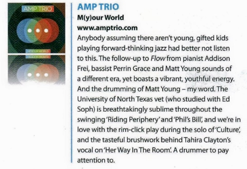 - Drummer Magazine on AMP Trio's,  m(y)our world .