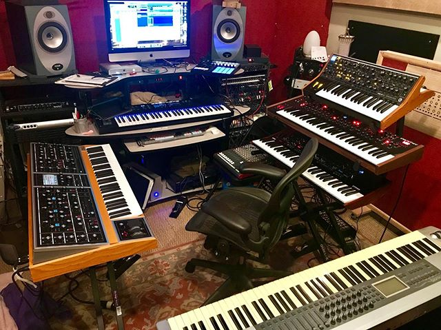 A fairly rare photo of the room. I finally found a comfortable fit for the added Moog One. #moog #moogone #synthesizers #keyboards #recordingstudio #newmusic #composer #ambientmusic