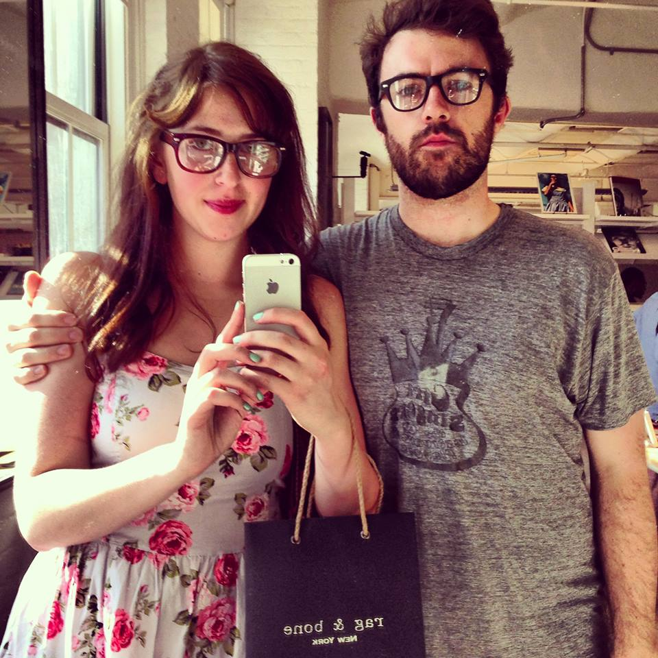 nate and i wearing our matching warby parker specs