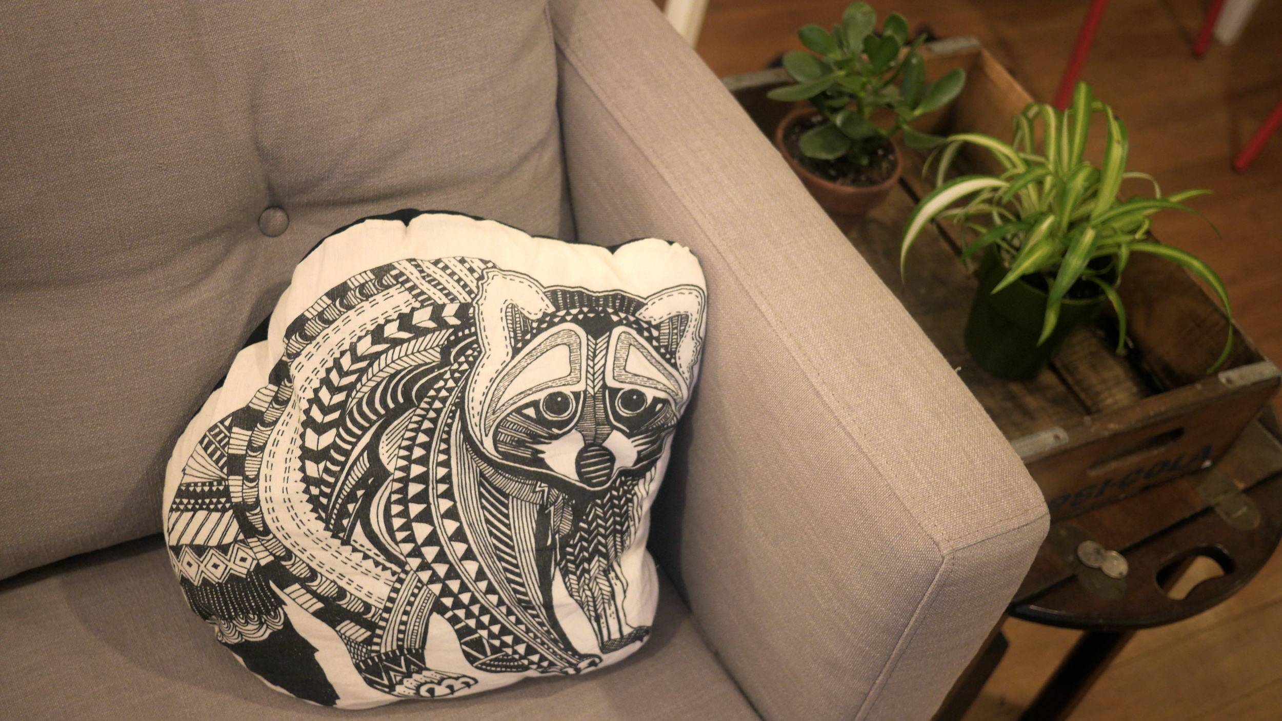 sweetest new couch pillow. his name is sgt. pepper.