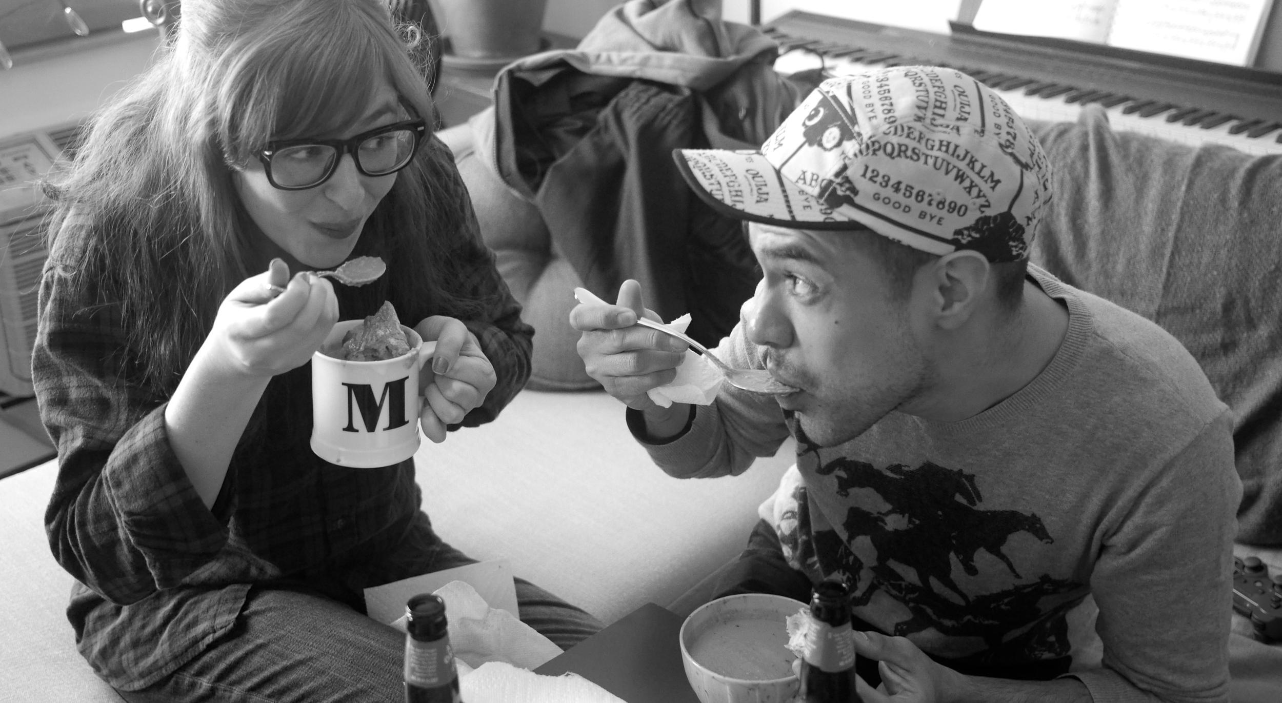 enjoying our soup
