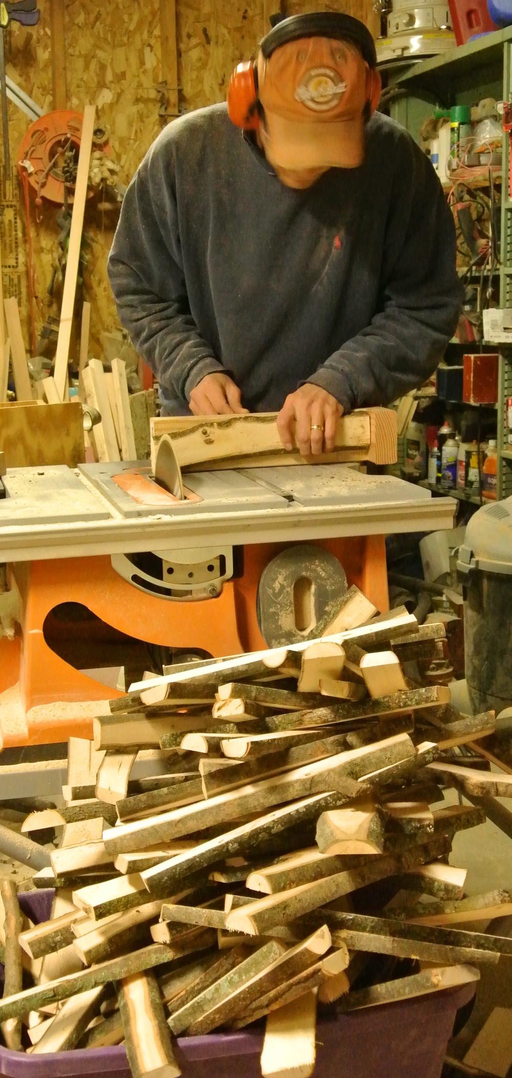 Cutting slats to length.