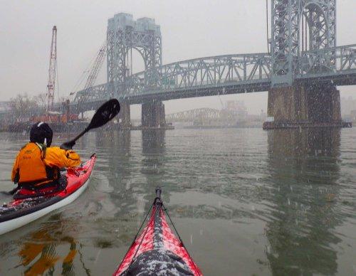 8. Harlem River: Under the RFK Bridge in falling snow