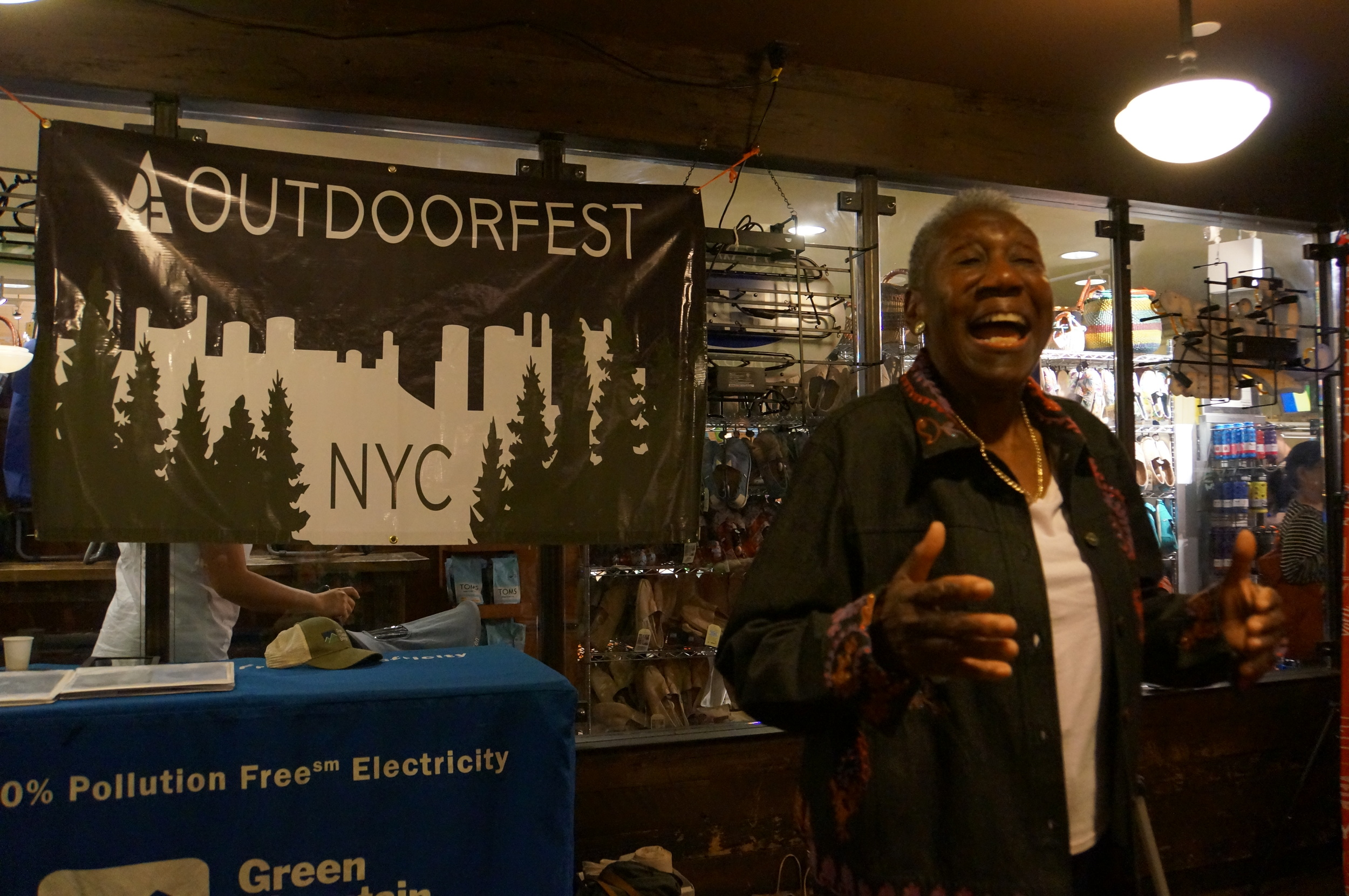 Barbara Hillary speaks at the Final OutdoorFest event