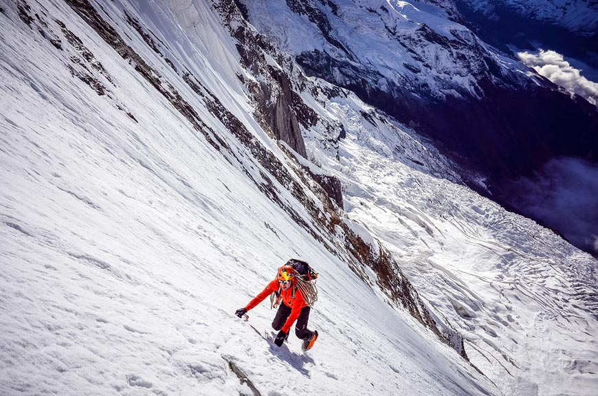 Steck on Eiger by Scarpa.net. He notes that his record breaking ascent was done completely solo - he returned months later with a camera crew to capture video and images.
