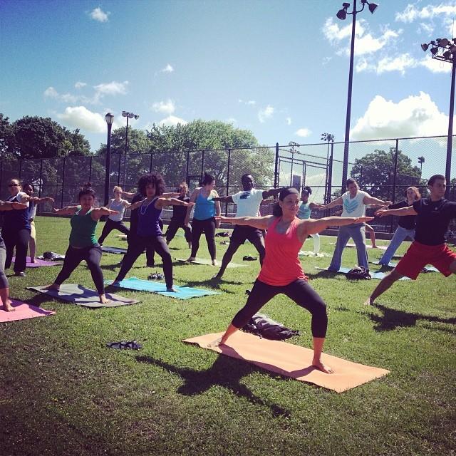 Pop up Yoga NYC class in Crotona Park. OutdoorFest 2014.