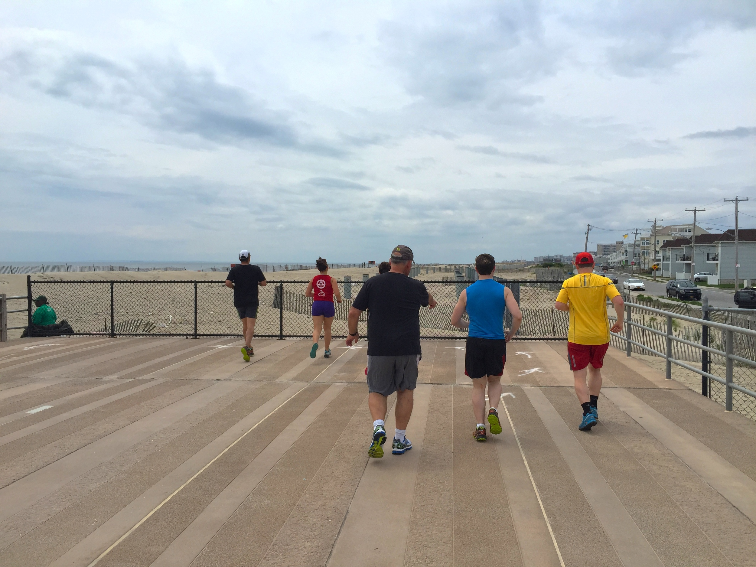 Runners on older section of boardwalk near 60th Street