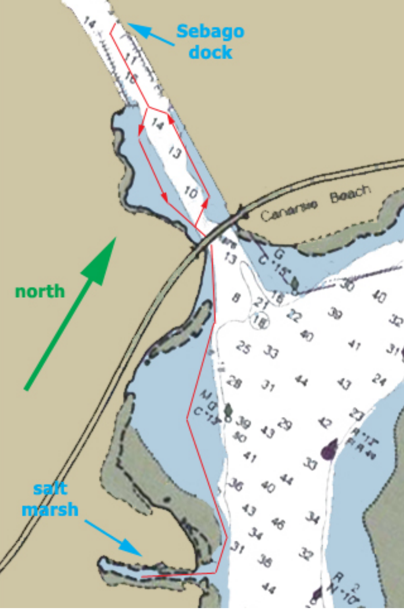 Here's a map of our route for the day heading out from the dock down to the Salt Marsh and back again. Map is from Sebago's    Beginner Kayaking Guide.
