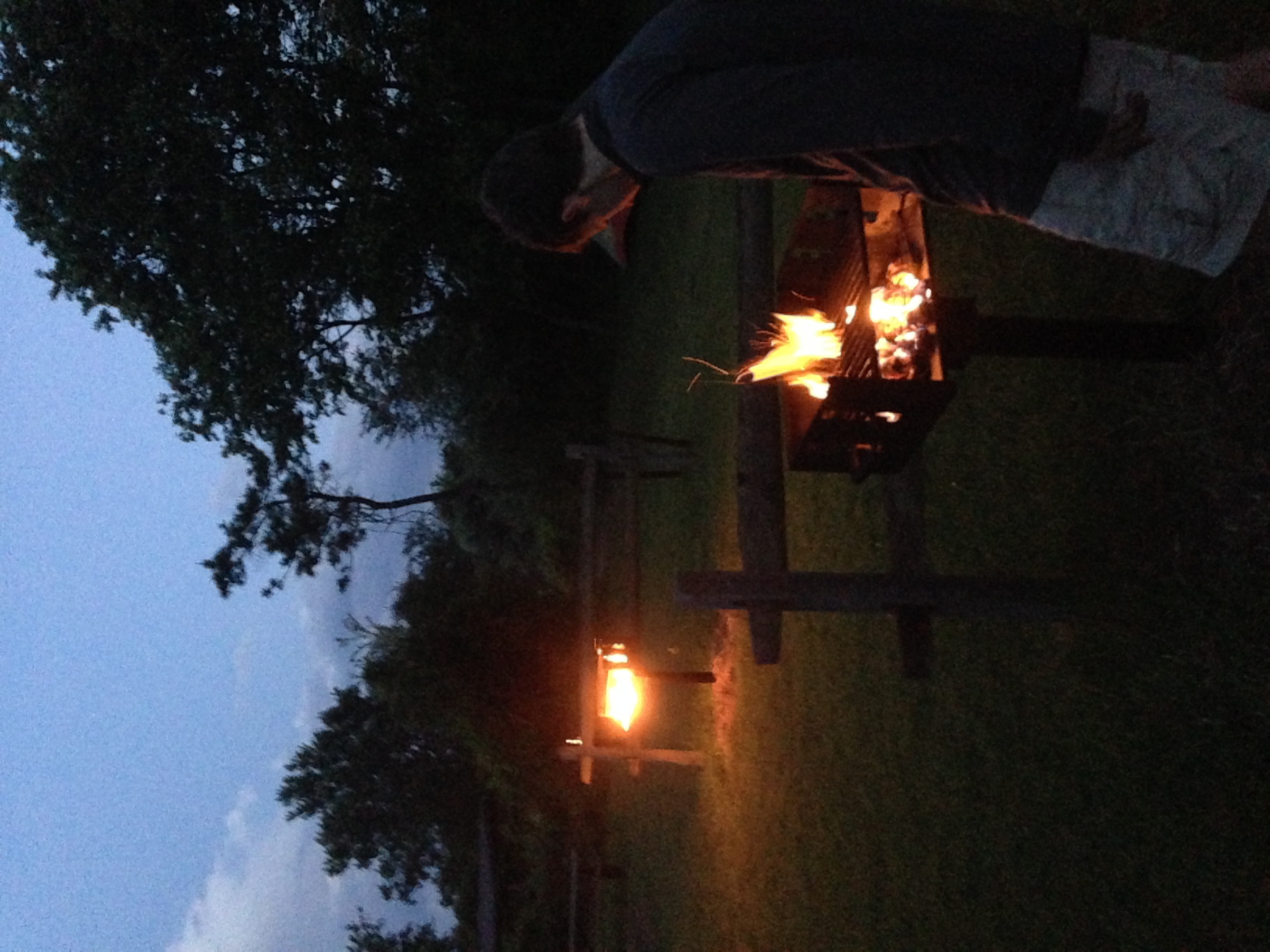 Fire pits and grills are scattered throughout the campgrounds