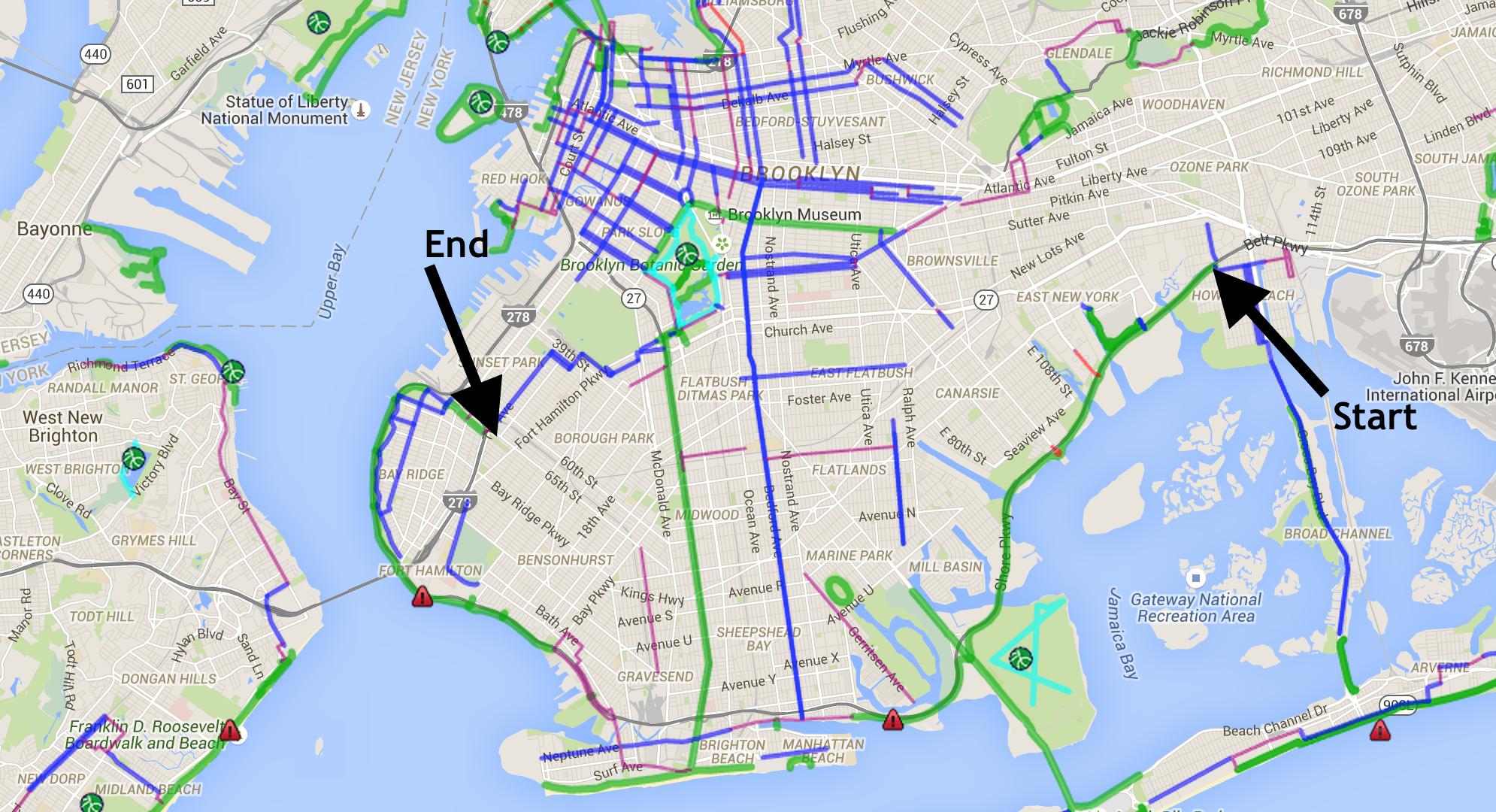 Bike map credit:    NYCBikeMaps.com