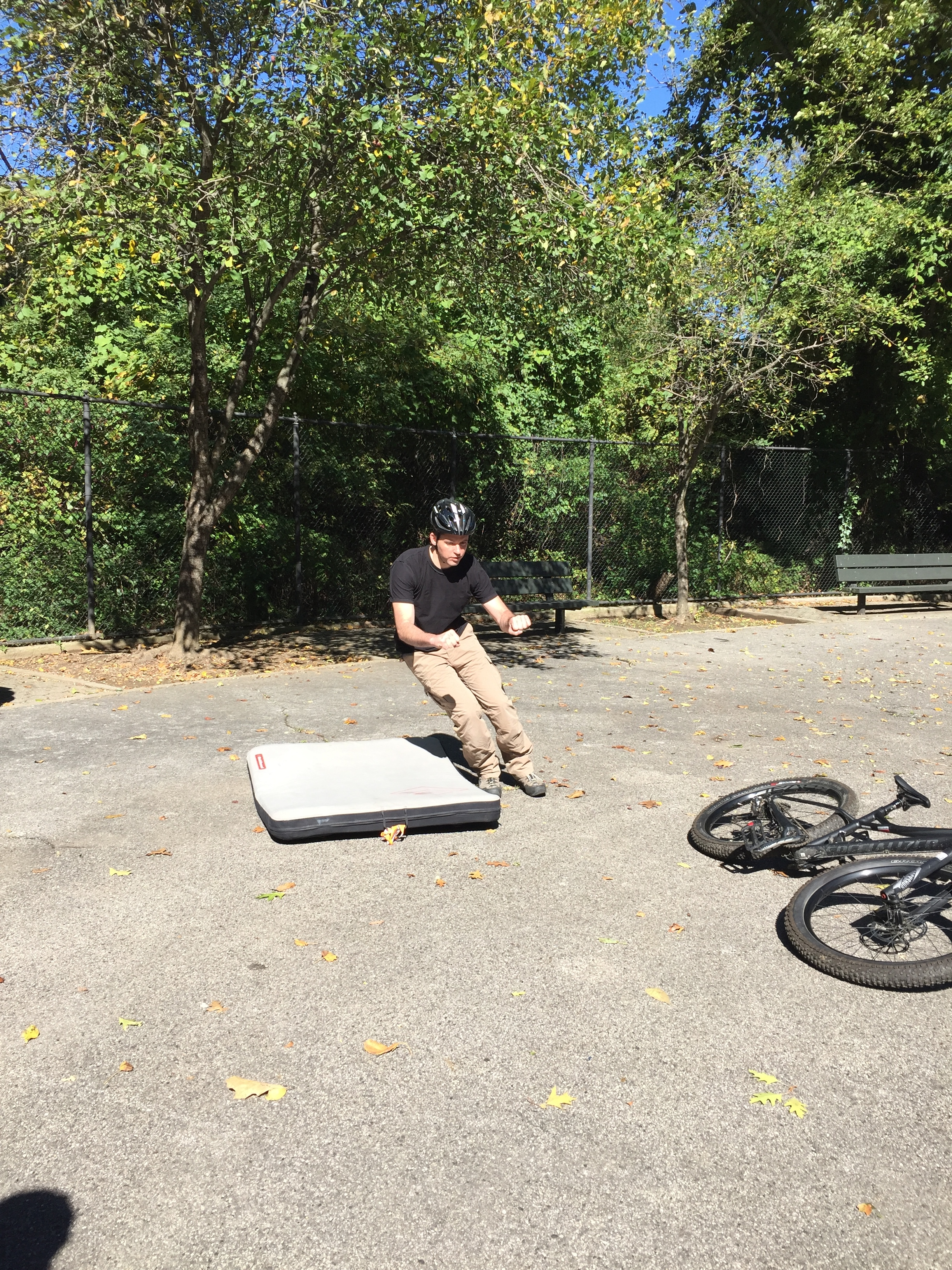 Instructor Gary shows off the side break fall