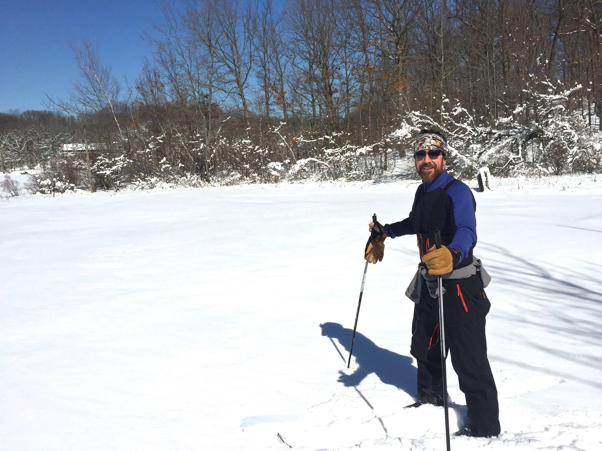 Dan McSwiggen, a regular runner along Greenbelt trails, switches to skis when necessary