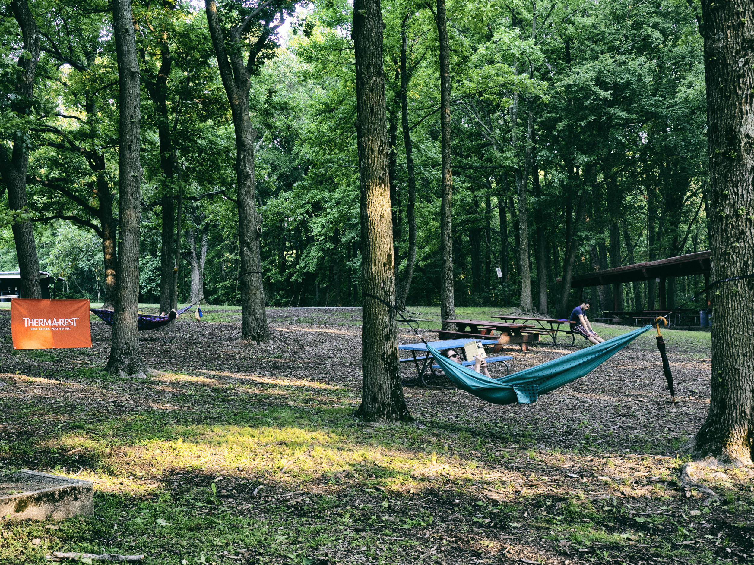 Hammocks offered relaxation at Camp Therm-a-rest. Photo by Tom O'Hare.