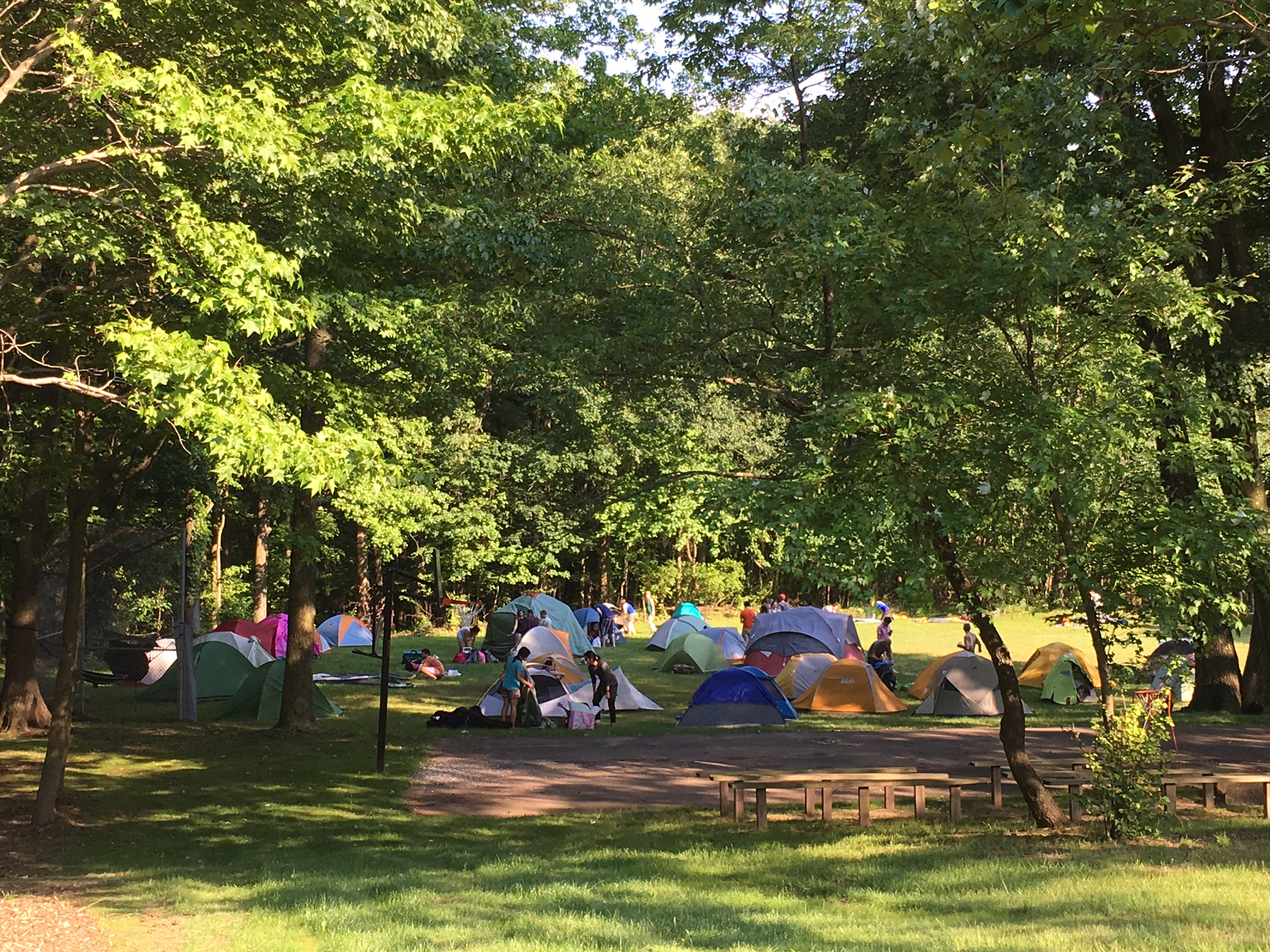 Campers set up at the OutdoorFest 2016 campsite