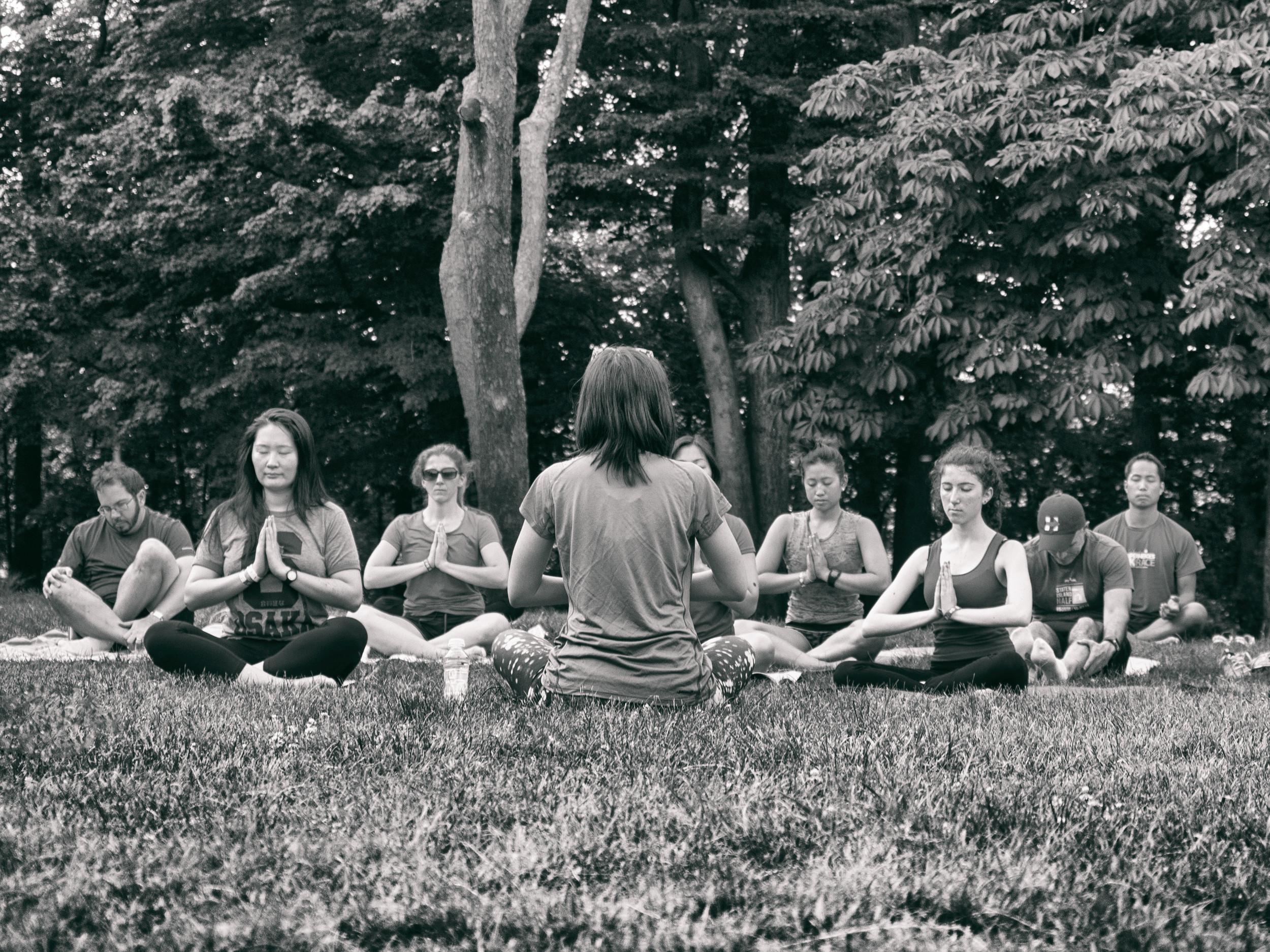 Pop Up Yoga NYC led an invigorating, hour long class. Photo by Tom O'Hare