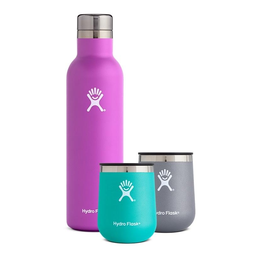 Hydro Flask Wine Bundle - $104.85Need a gift that combines vintage with views? The new Hydro Flask Wine Bundle offers the perfect combo. Using their famous TempShield™ insulation, they've created a wine bottle that will keep whites perfectly chilled and reds at room temperature as you hike to a peak or paddle down a river. The 25oz Hydro Flask Wine Bottle holds an entire standard 750ml bottle of wine and is made of pro grade stainless steal so you don't have to worry about the bottle influencing the taste. Add in the 10oz wine tumblers and you have the outdoor-wine lovers gift of the year  Plus, you can mix and match colors.