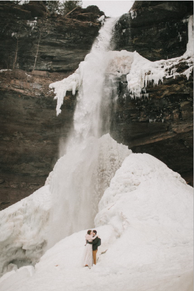 """Lisa and Matt tied the knot in the off-season at Kaaterskill Falls on a guided """"Wild Wedding"""" with Catskill Mountain Wild. CAUTION : Micro-spikes are necessary to access this portion of the falls throughout the winter."""