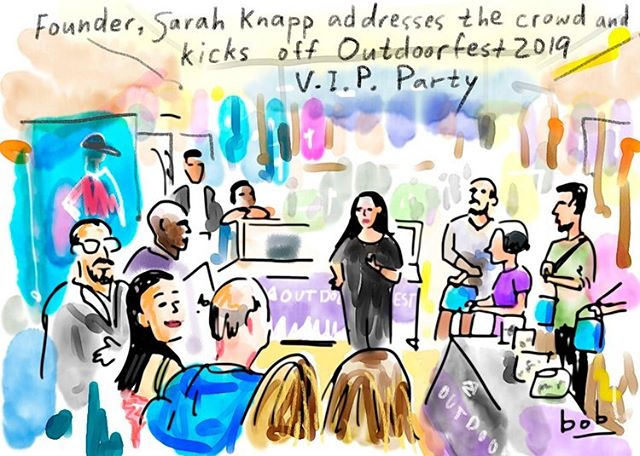 Wow, what a great night at @columbia1938 yesterday celebrating the launch of #outdoorfest2019 with our partners! • This drawing, by @newyorkermag @bob_eckstein features OF Founder @srhknpp kicking the night off. • We also heard from @columbia1938 on their community program, did a focus game with @themovementcreative and enjoyed those refreshing @sierranevada brews! • Shoutout to all of the amazing partners who joined us last night: @adaptclimbgroup @browngirlsclimb @manhattankayak @gowanusdredgers @nycmtb @girlgottahike @nolsedu @newyorkcitywild #duffeloutnyc @brooklynboulders @tmircenyc @livemoreadventures @1904nate @aaronrandolph • #outdoorfest2019  #testedtough