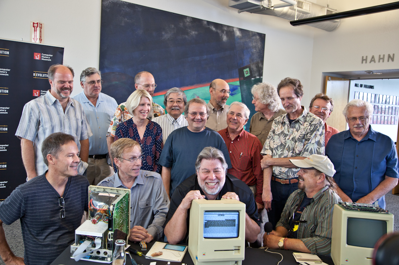 A group of old friends surrounding Woz and the 30+ year old Twiggy Mac Prototype.