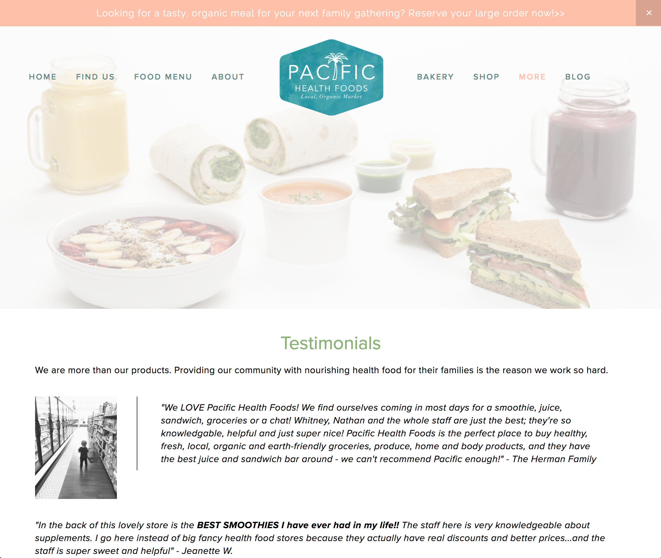 Example of a page devoted to testimonials