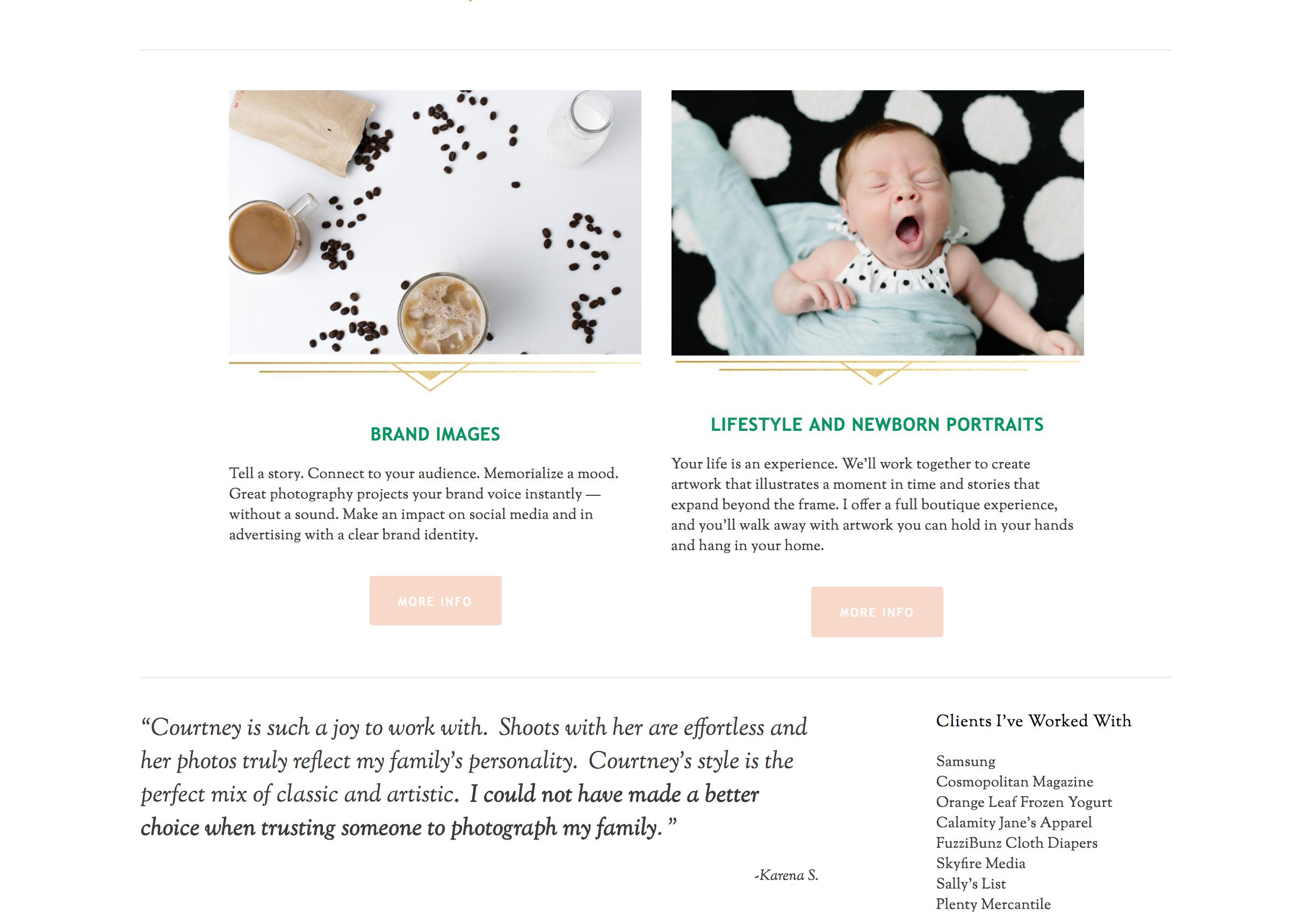 Example of testimonials sprinkled througut your website